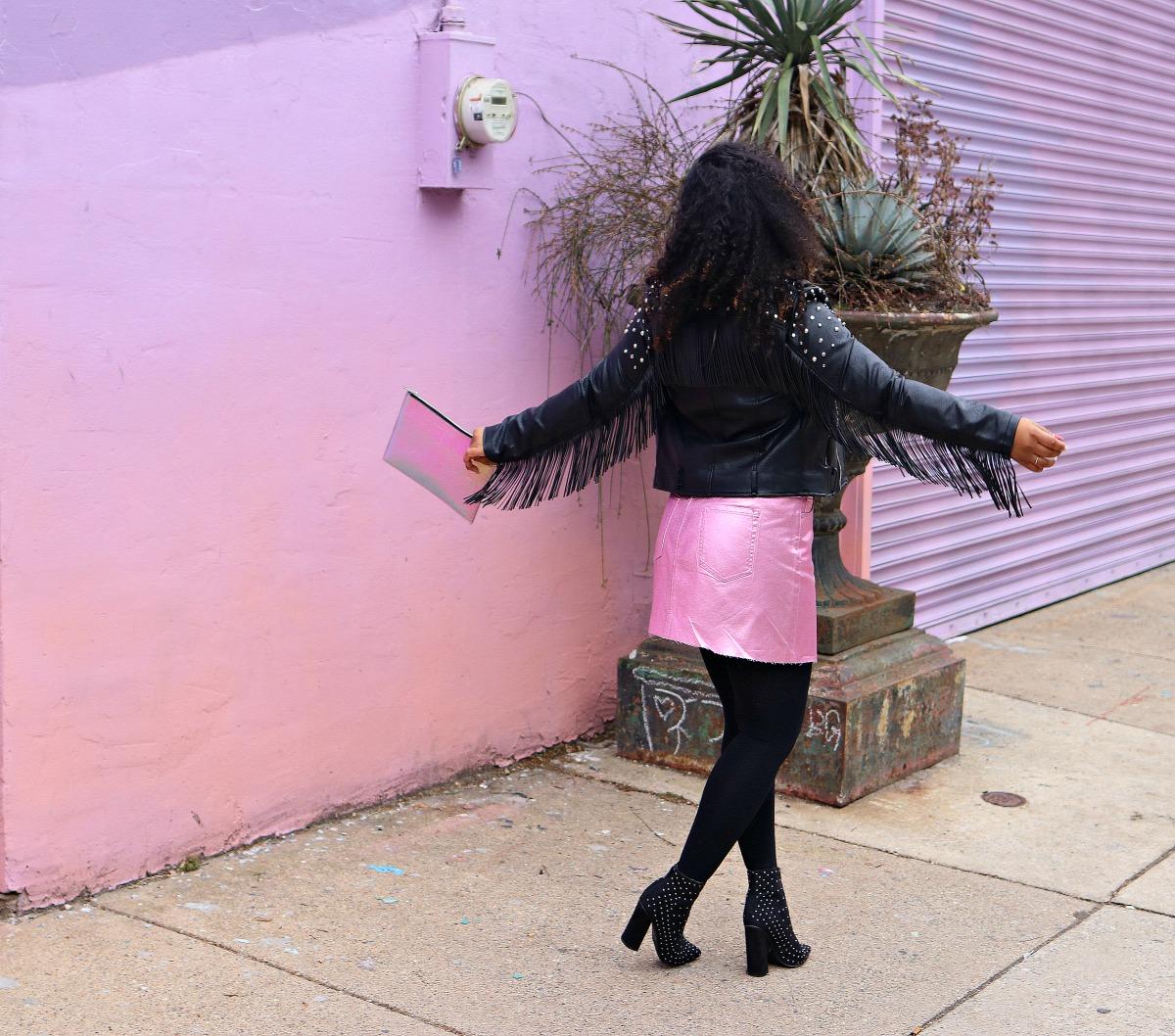 Style & Poise-Feminine Edge, Pink Metallic Mini, Studded Leather Jacket, Studded Boots.