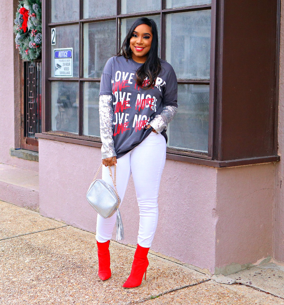 Love Graphic Tee, White Denim, Sequin Sleeves, V-day Inspo, red booties, metallic