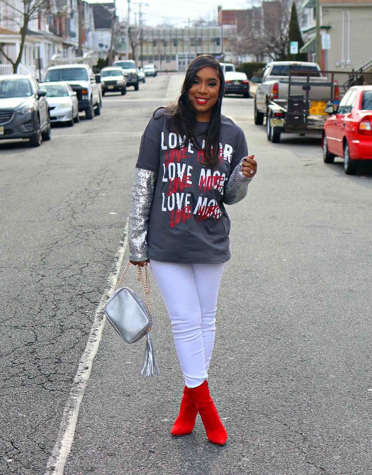 Love Graphic Tee, White Denim, Sequin Sleeves, V-day Inspo