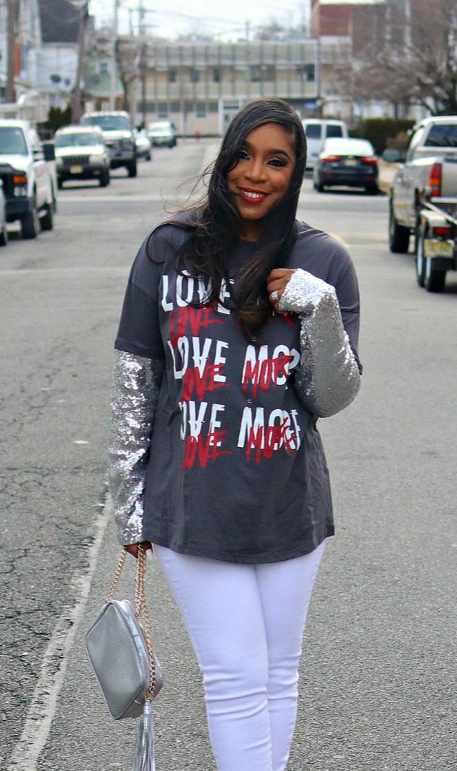 Love Graphic Tee, White Denim, Sequin Sleeves, V-day Inspo, Metallic purse