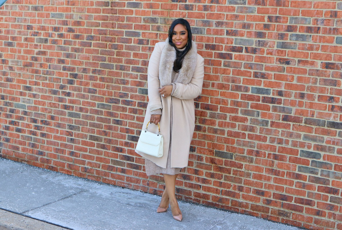 Vintage tan coat, sweater dress, nude pumps, Winter Fashion, Church Style, Church Fashion, Modest Fashion