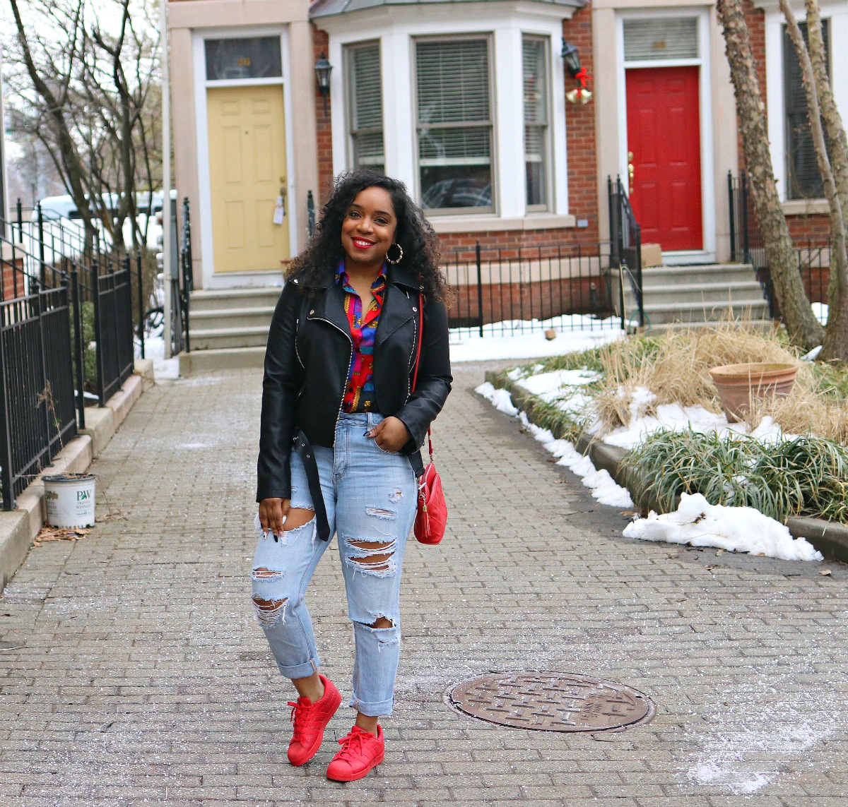 Style & Poise-Vintage Versace Inspired blouse, moto jacket, shell toe adiddas, bamboo earrings, street style