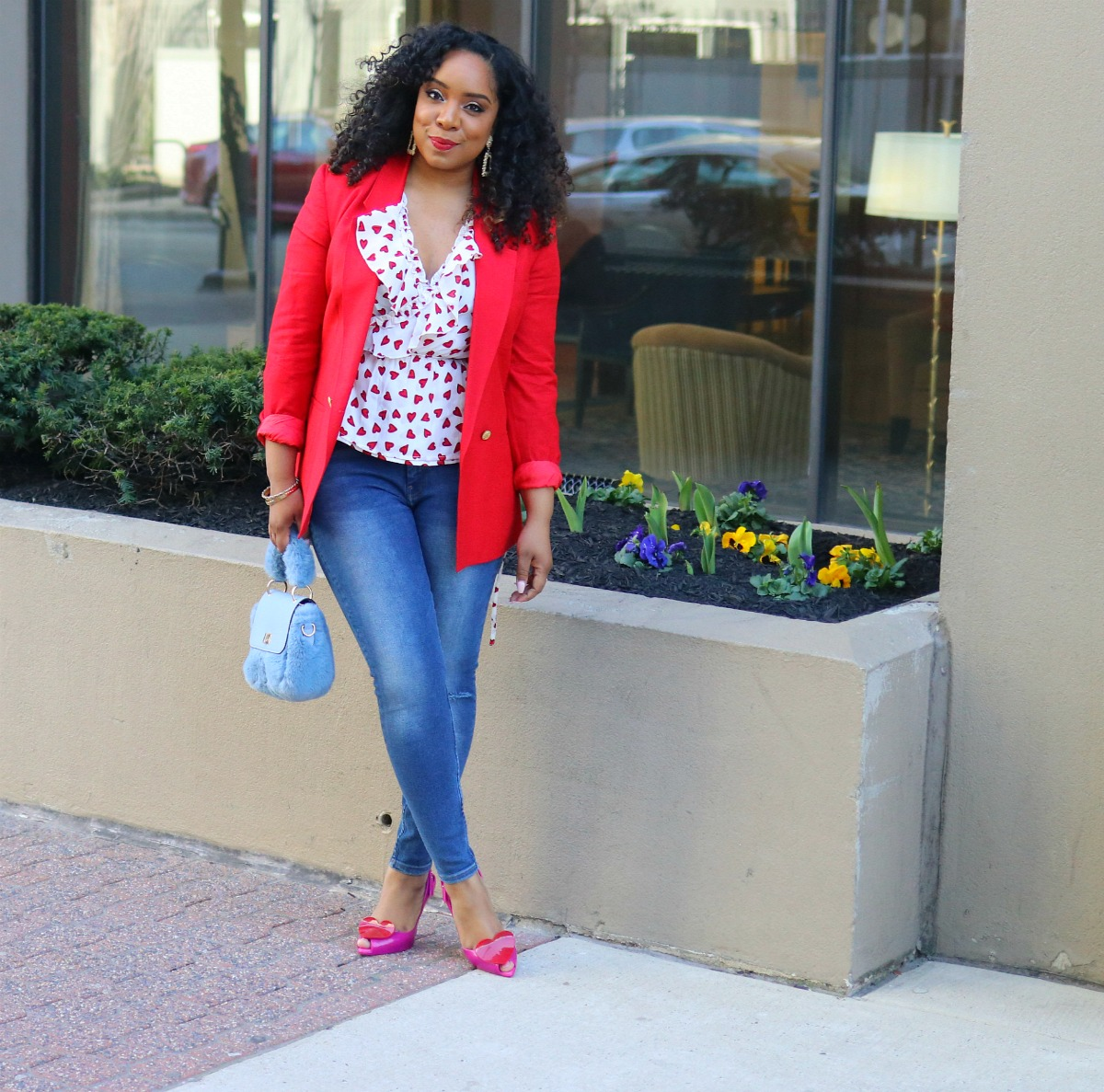 Style & Poise: Heart Blouse, Red Blazer, Heart Shoes