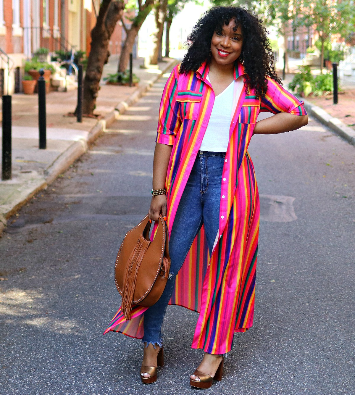 Style & Poise: Rainbow kimono, Studded Fringe Purse, Platform Sandals
