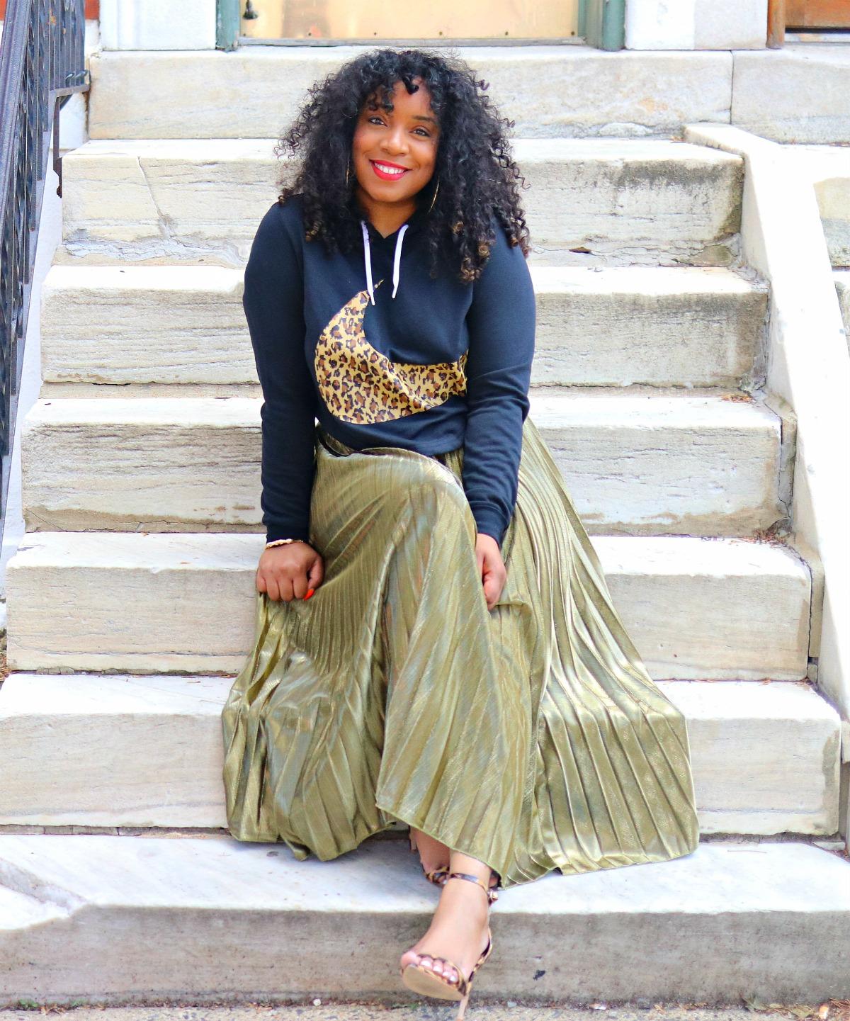 Style & Poise: Leopard Nike Sweatshirt, Metallic Pleated Skirt, Leopard Sandals. Athleisure