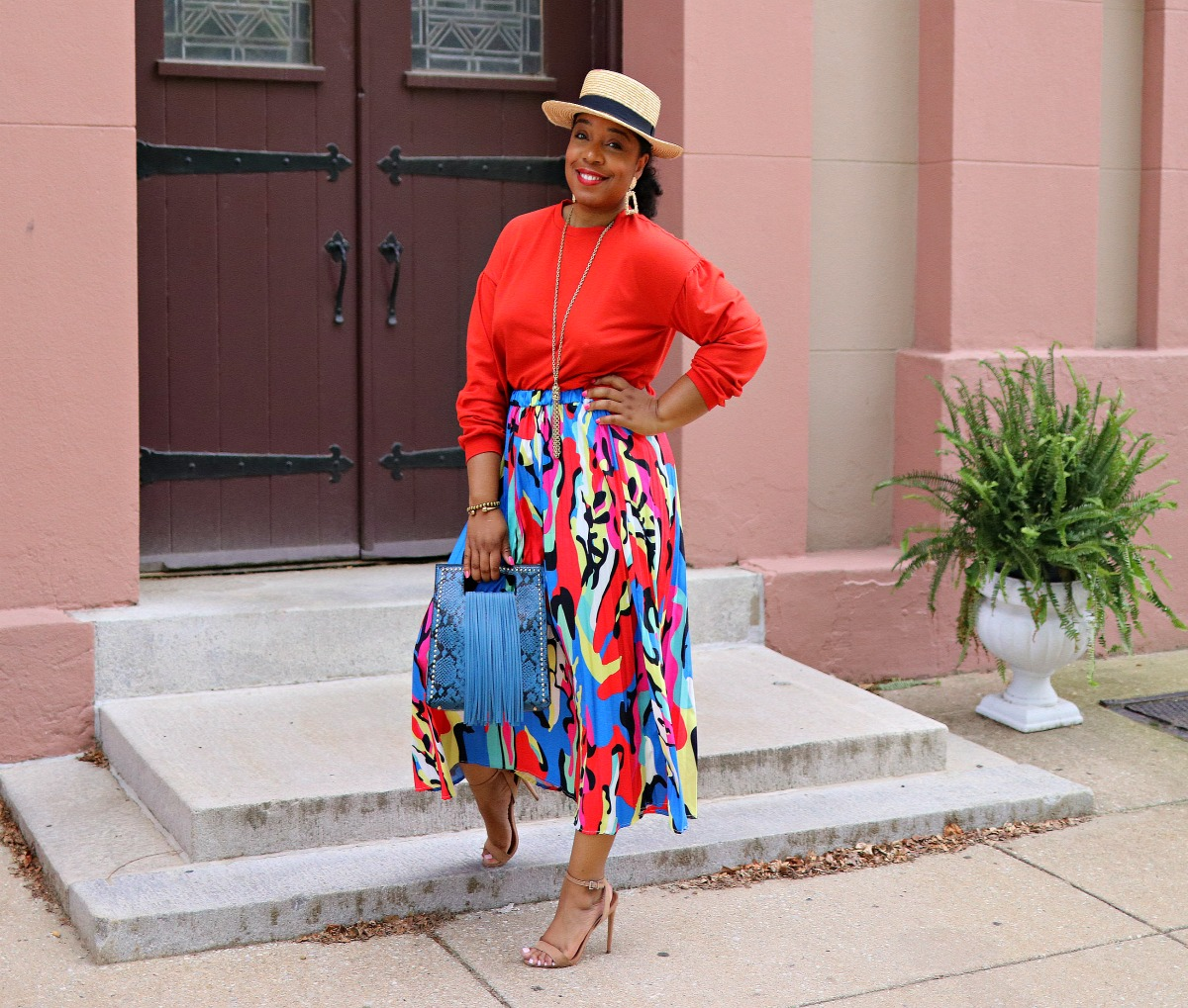 Style & Poise: Colorful abstract skirt, Snakeskin Fringe purse, Boater's Hat, Nude Sandals, Spring Fashion, Colorful Street Style.