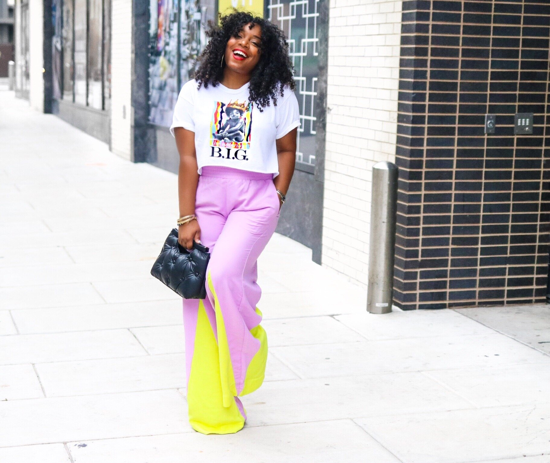 Graphic tee, neon trousers