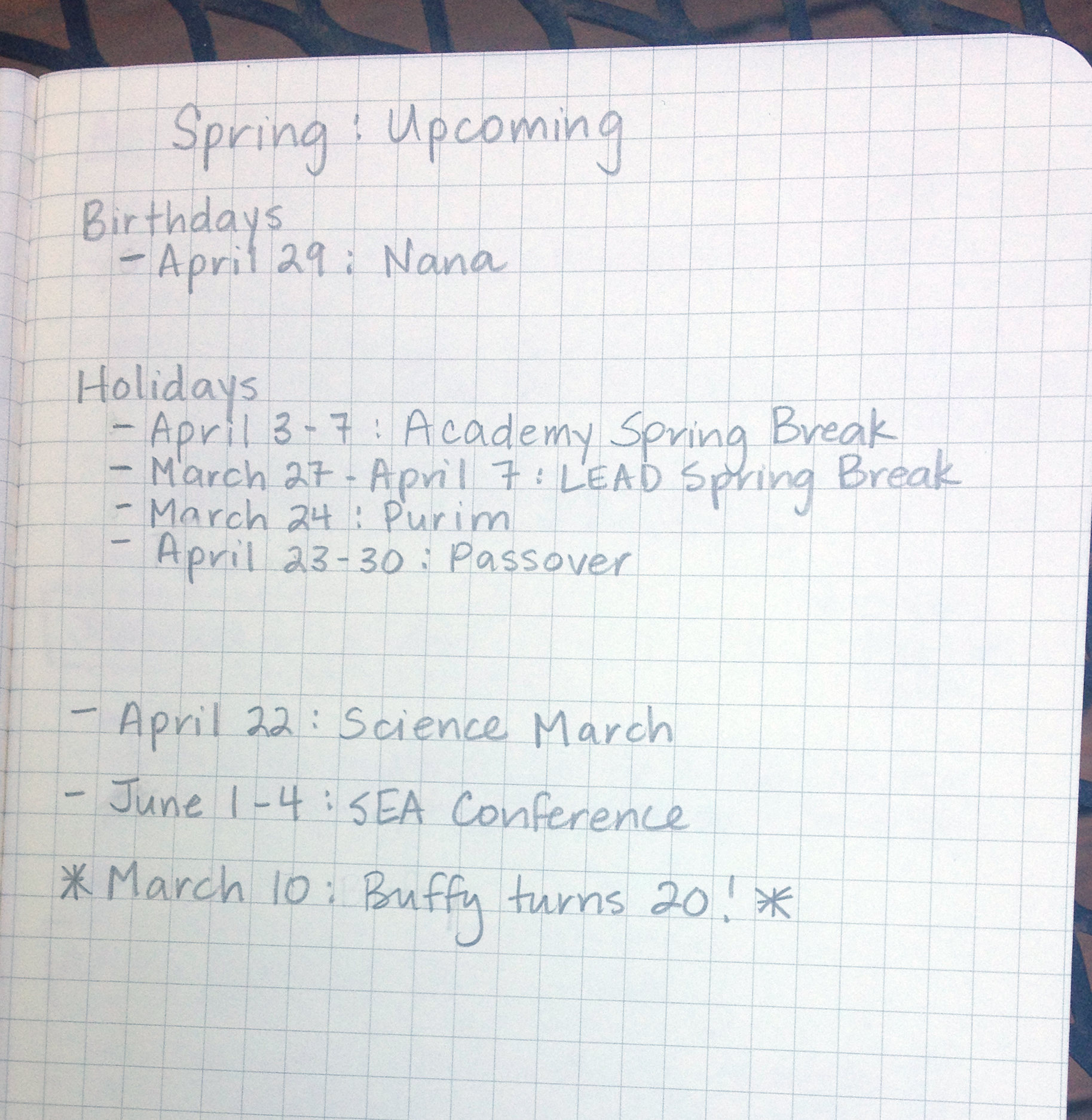 I do a seasonal checklist of upcoming events—birthdays, holidays, Buffy anniversaries, etc. that I can quickly refer to