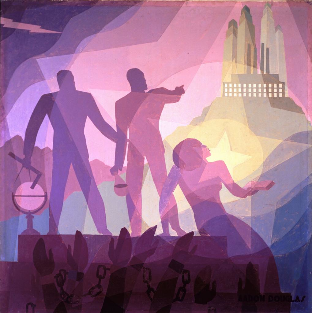 "See Aaron Douglas's art (including this 1936 oil painting ""Aspiration"" and other work by Harlem Renaissance artists at the  Archive for Virtual Harlem website."