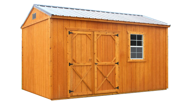 stained wood sheds