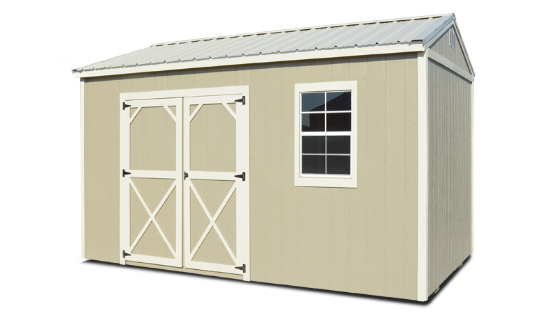 Painted wood storage shed