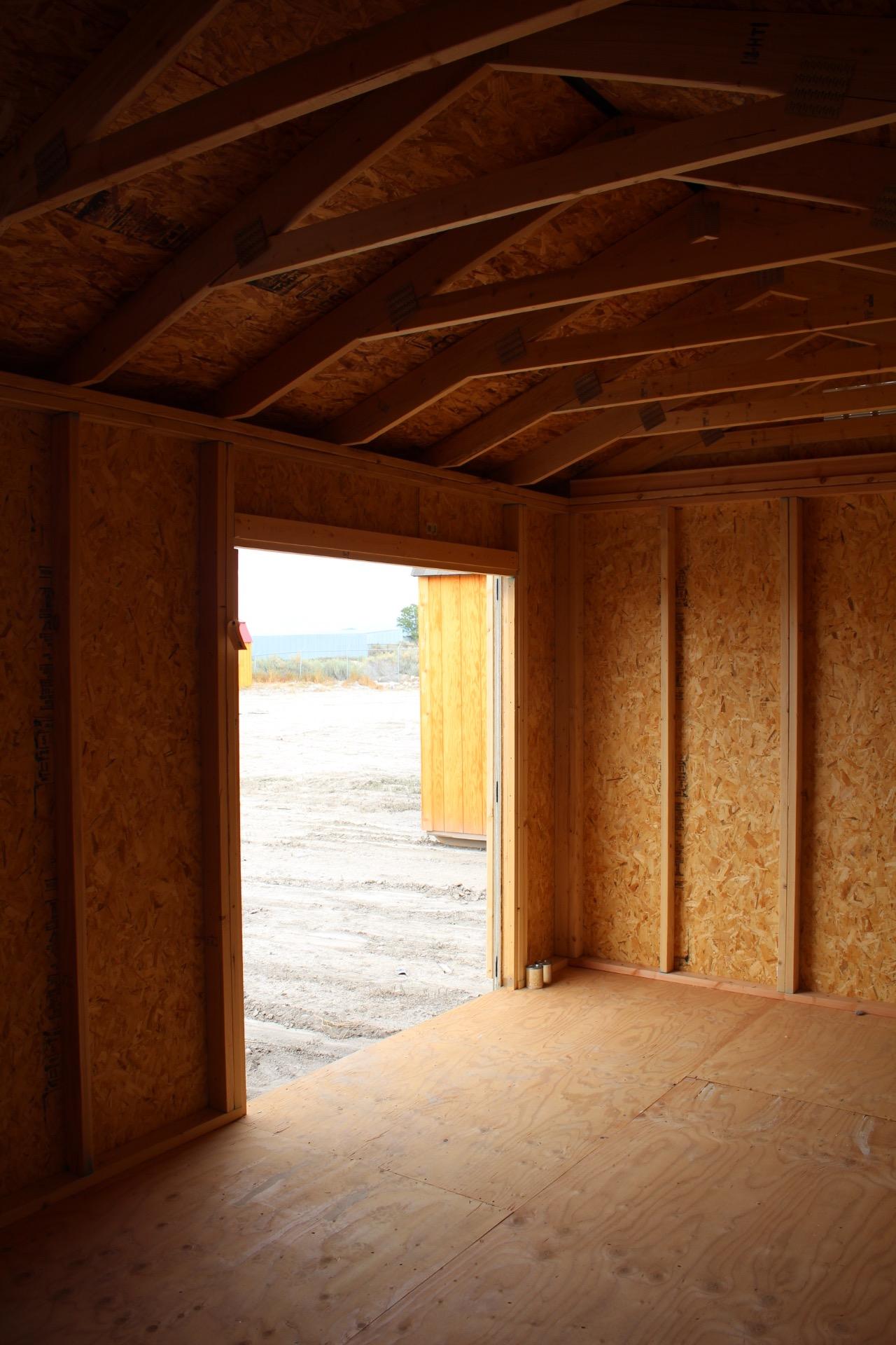 Inside a backyard storage shed