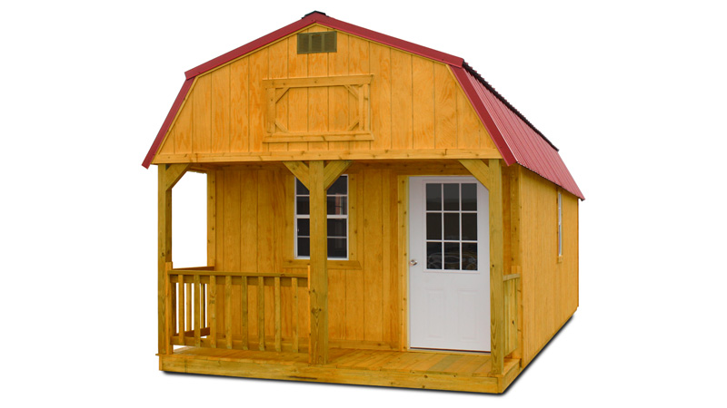 Stained lofted barn cabin