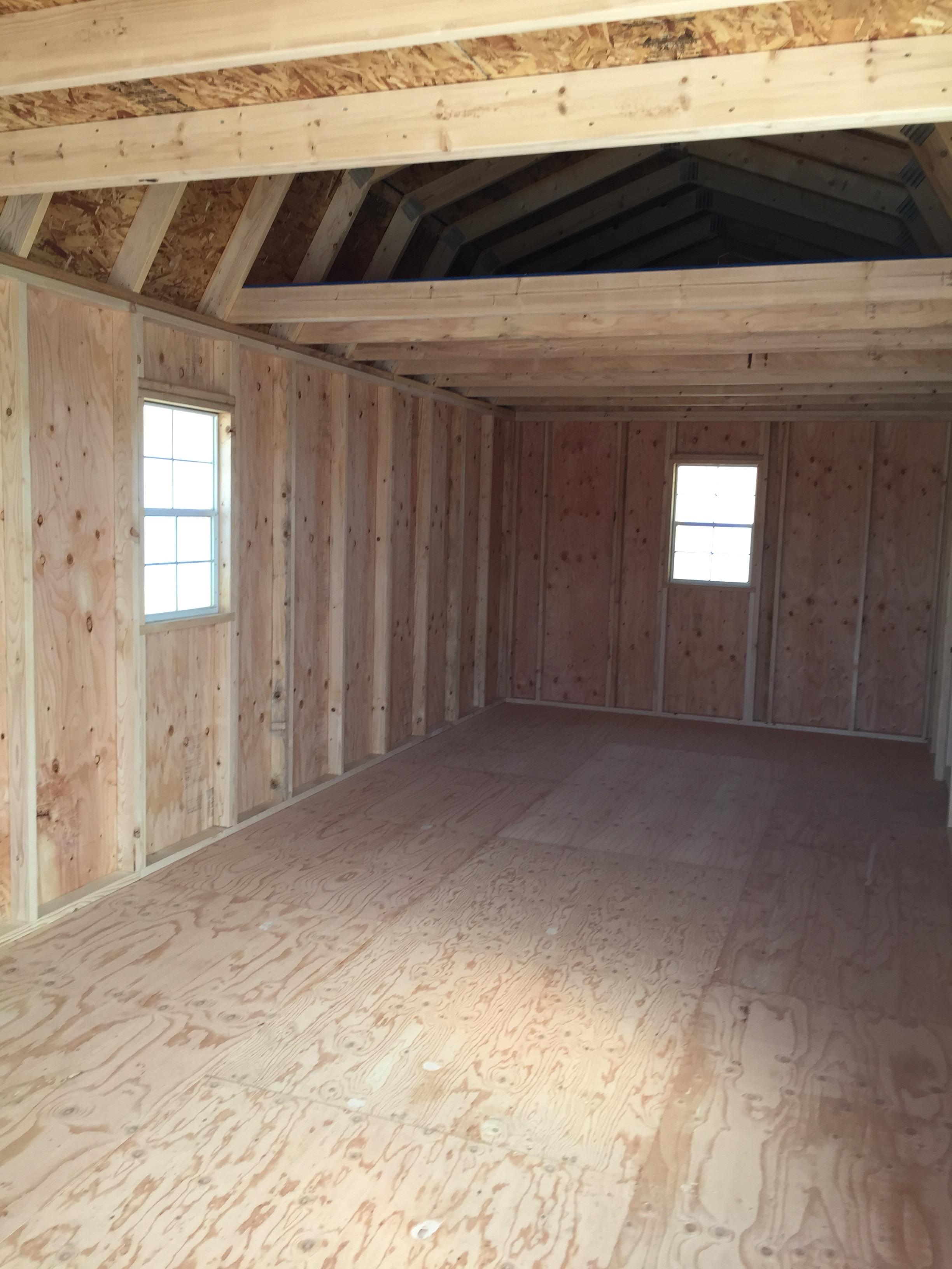 Inside a lofted barn cabin