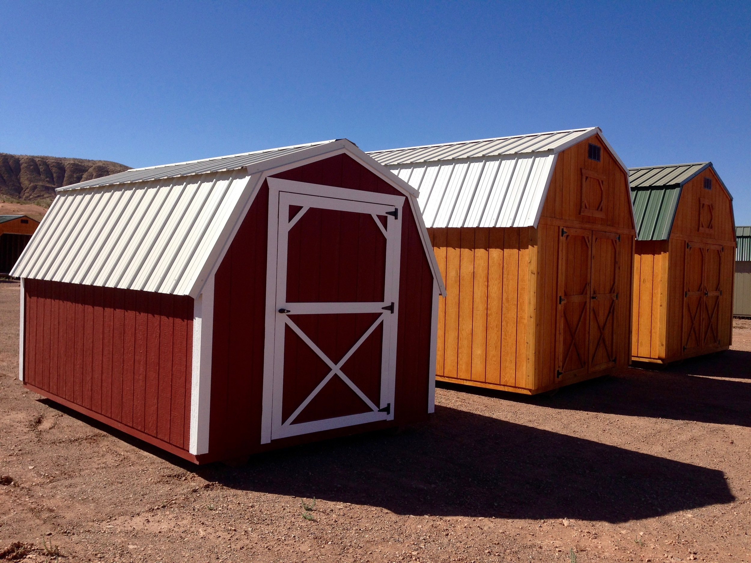 Our buildings are available with Fir Wood siding or LP® SmartSide® painted panels