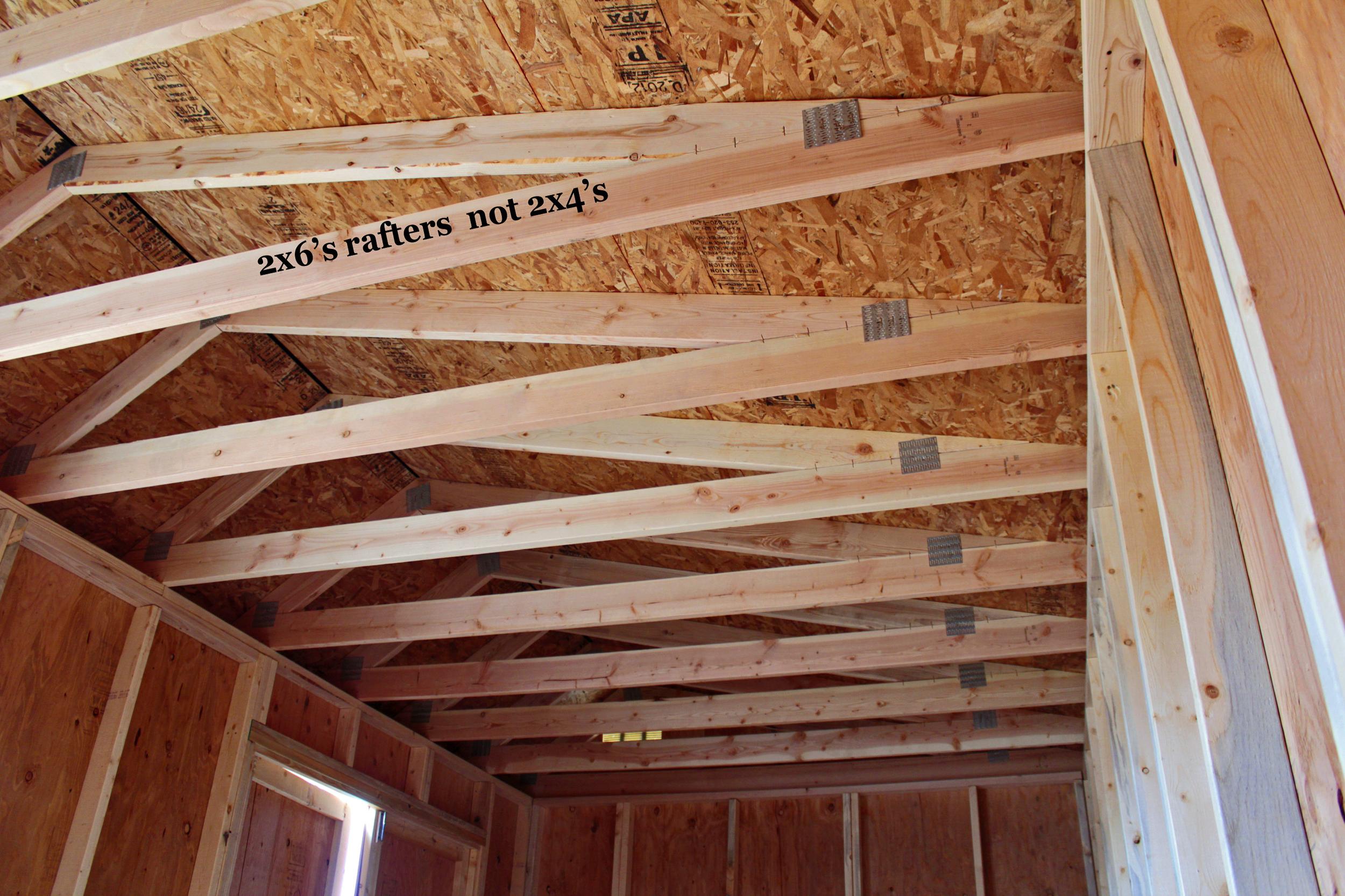 Nevada, Missouri, Illinois and Iowa use 2x4 rafters.