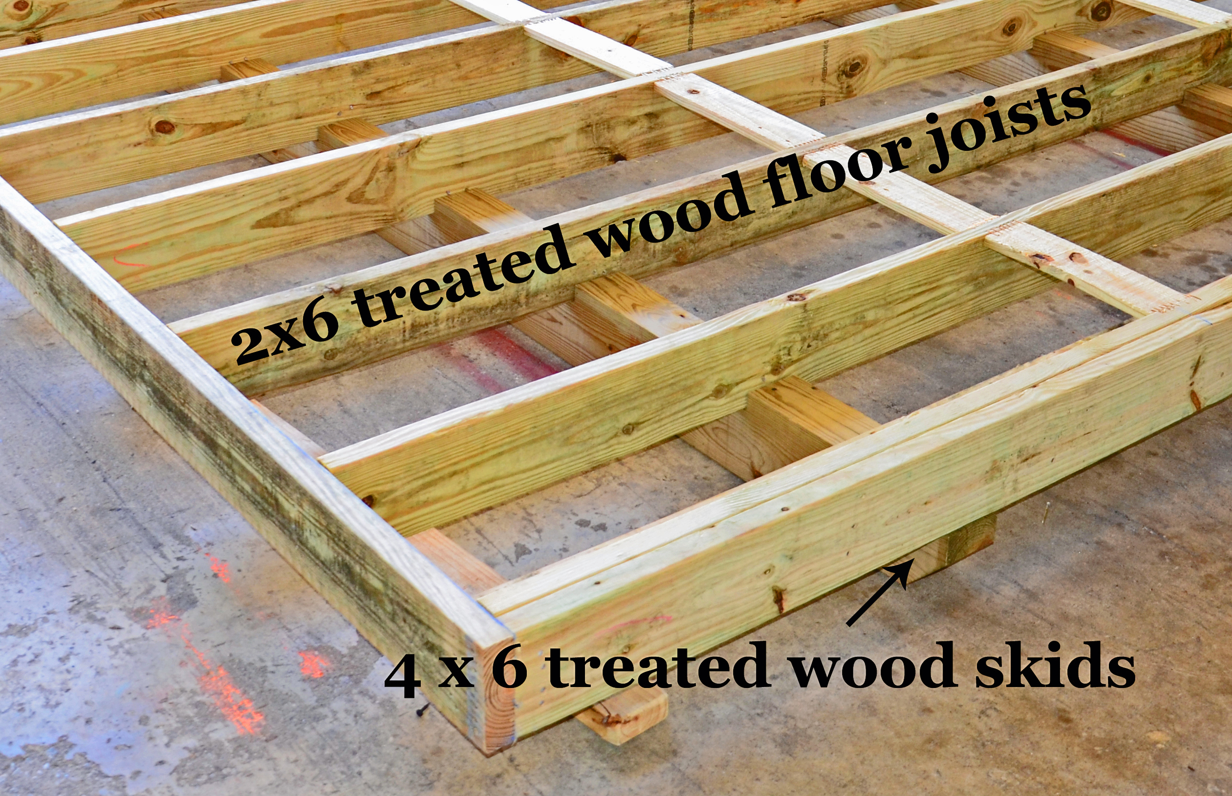 Buildings in the eastern territories are built with 2x4 floor joist and they can be upgraded to 2x6.
