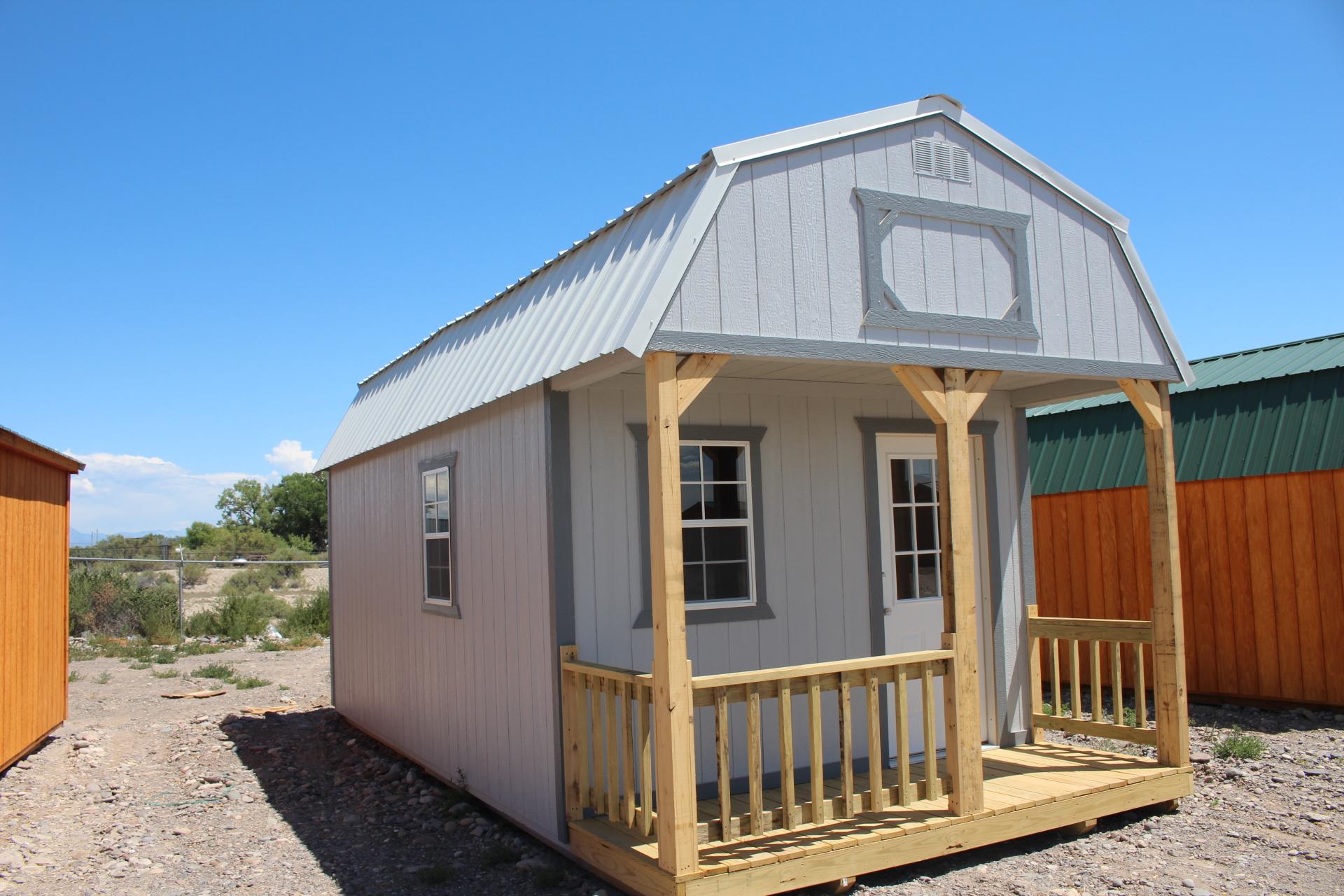 Storage shed with a loft