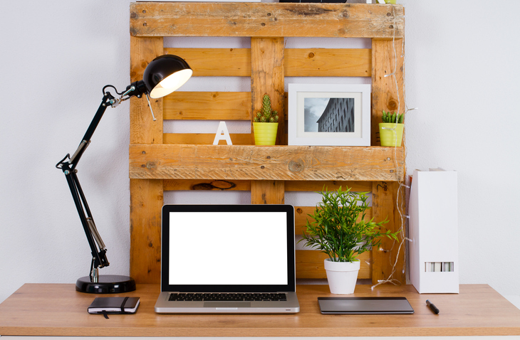 DIY at home Office in Shed with drywall