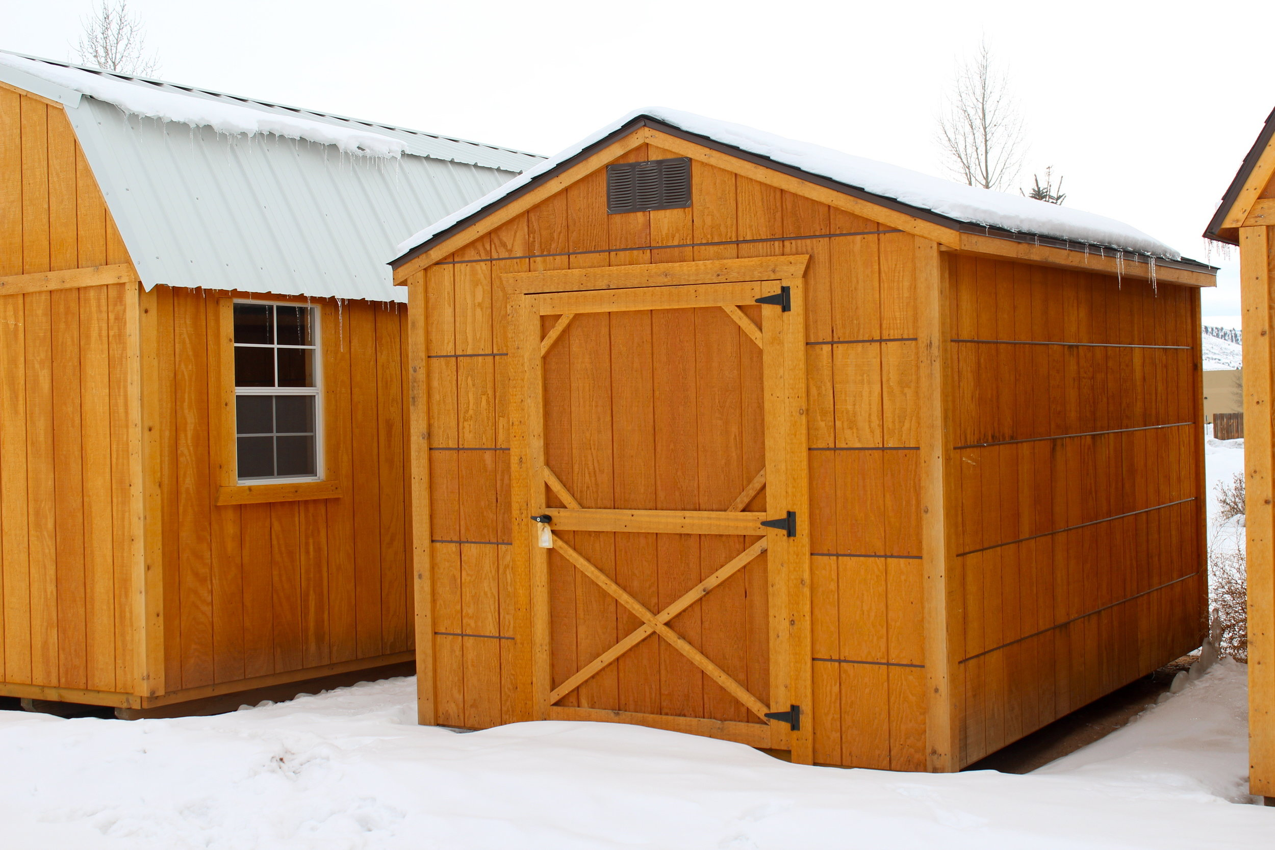 Winter Snow has began to accumulate around this Cumberland Economy Utility Shed.