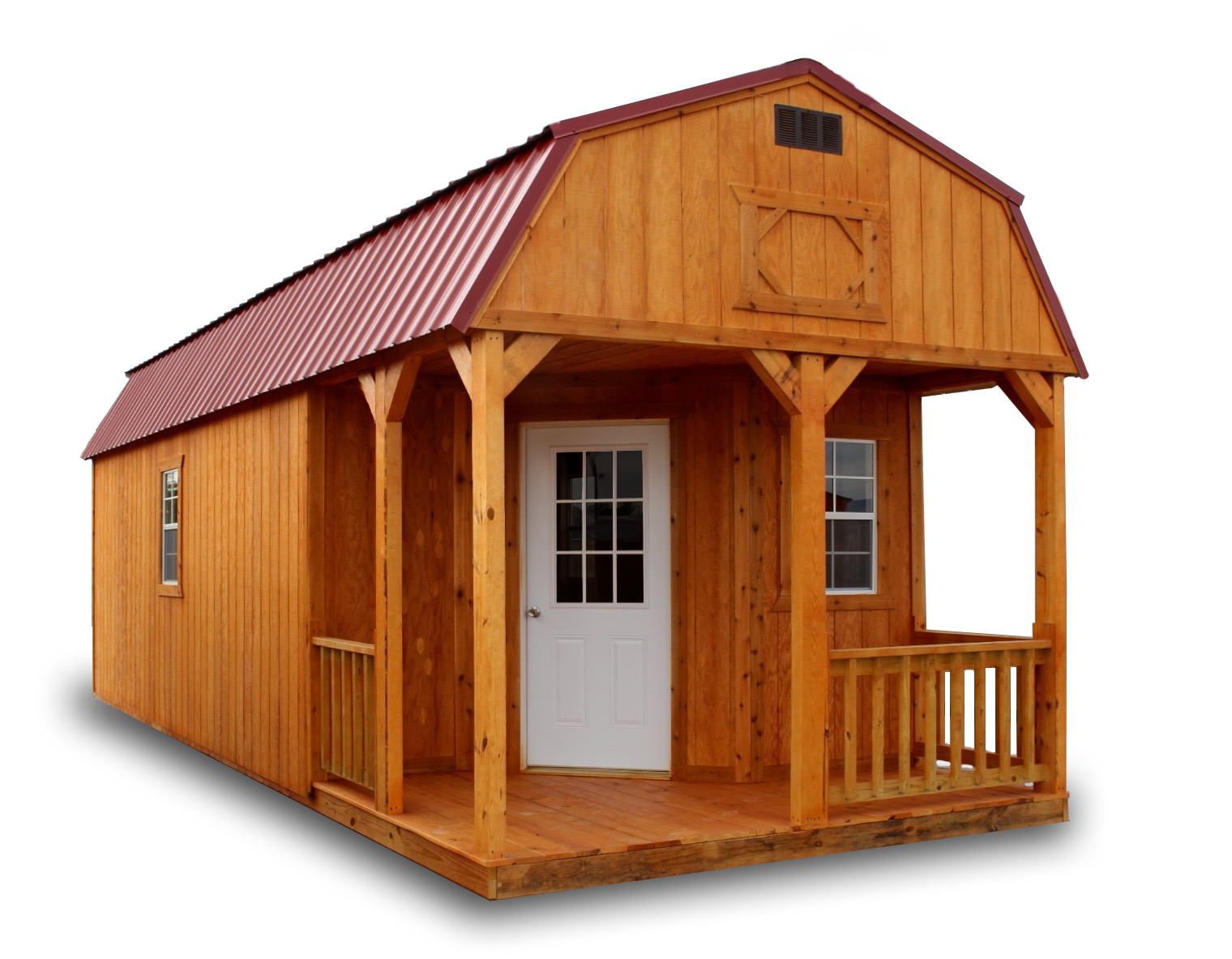 Fir Wood Siding or LP® SmartSide® painted panels, 2 lofts, 3 windows, door, porch, wood railing, opening loft door. Free Shipping within first 50 miles.