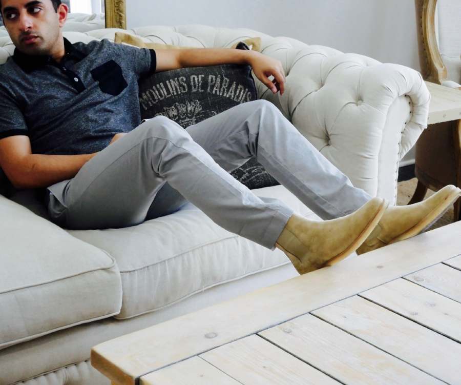 Kick back and relax in these chelseas with a casual pair of chinos and a polo.