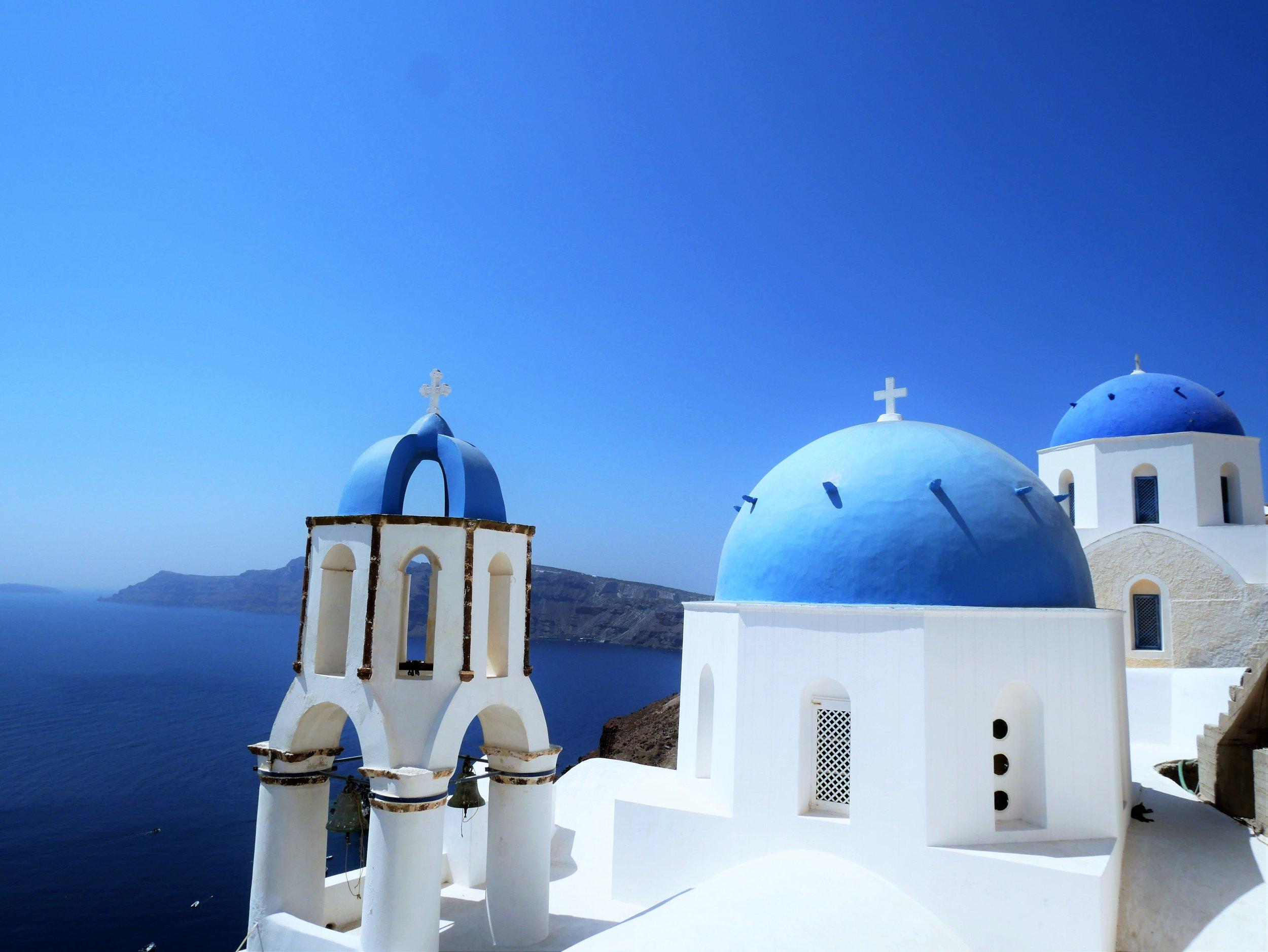 The blue dome churches in Santorini are heavenly.