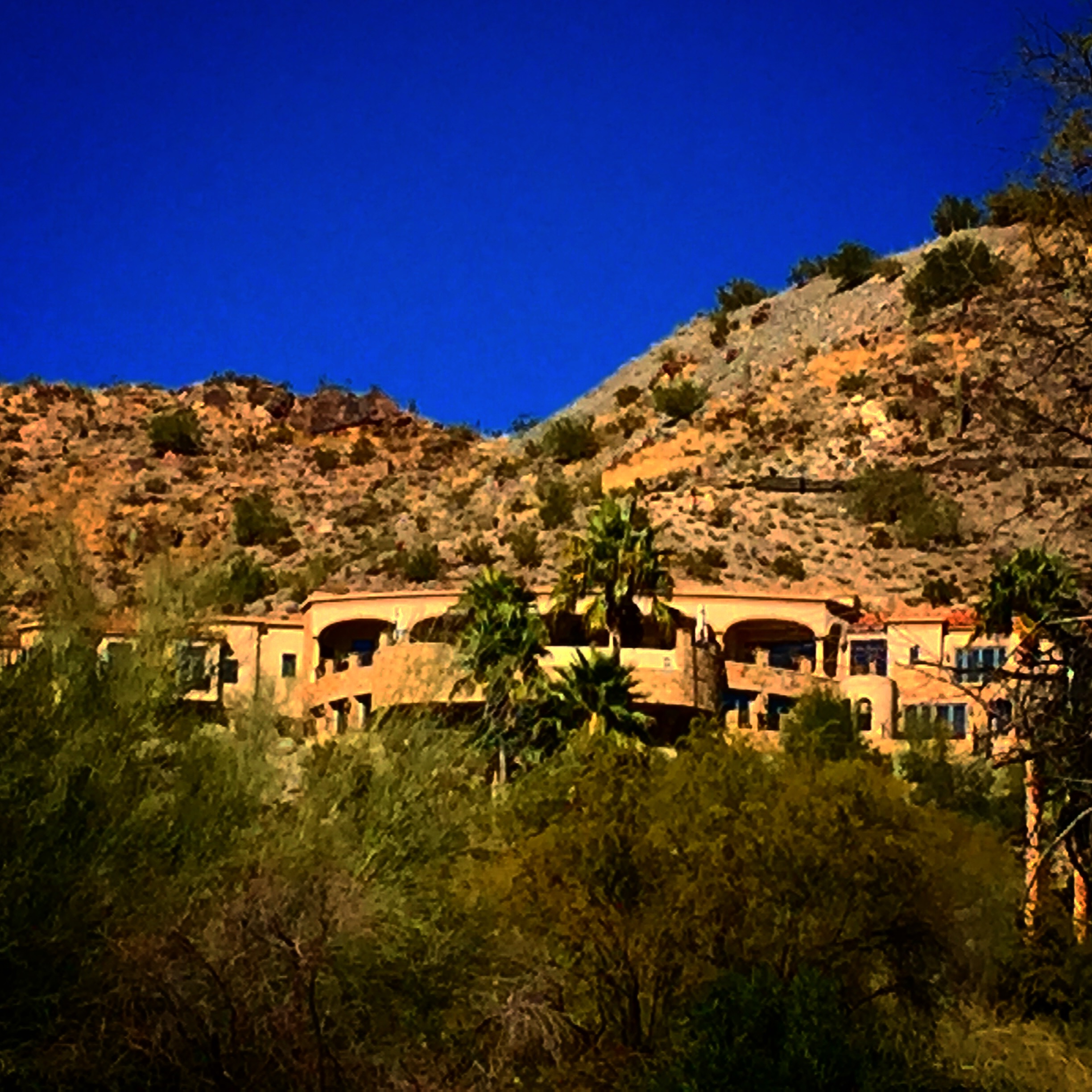 Scottsdale has stylish homes amidst the rocky terrain.