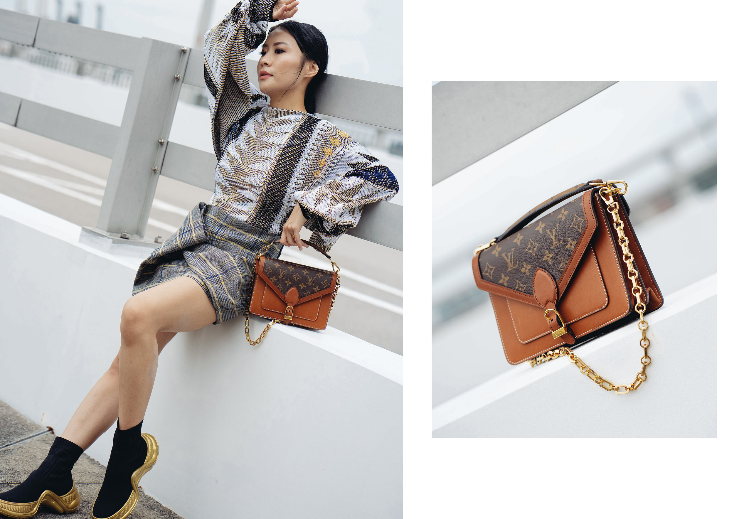 Outfit:  Jacquard Knit Top with Open Sleeves ,  Short Gathered Skirt ,  LV Archlight Flat Chelsea Boot  and  Biface Monogram Handbag .