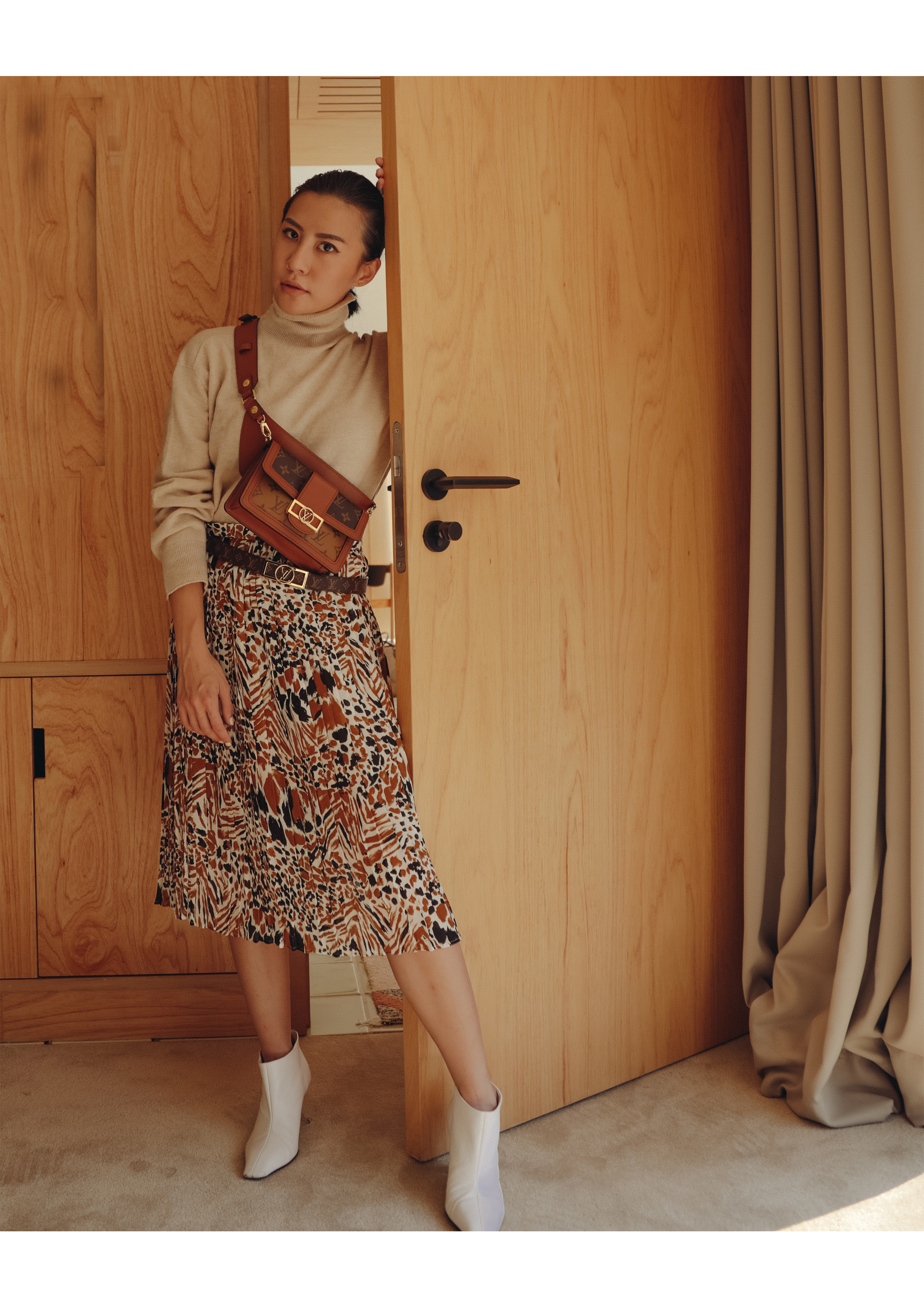 Featuring  Dauphine 25mm Reversible Belt ,  Printed Pleated Skirt , and  Mini Dauphine