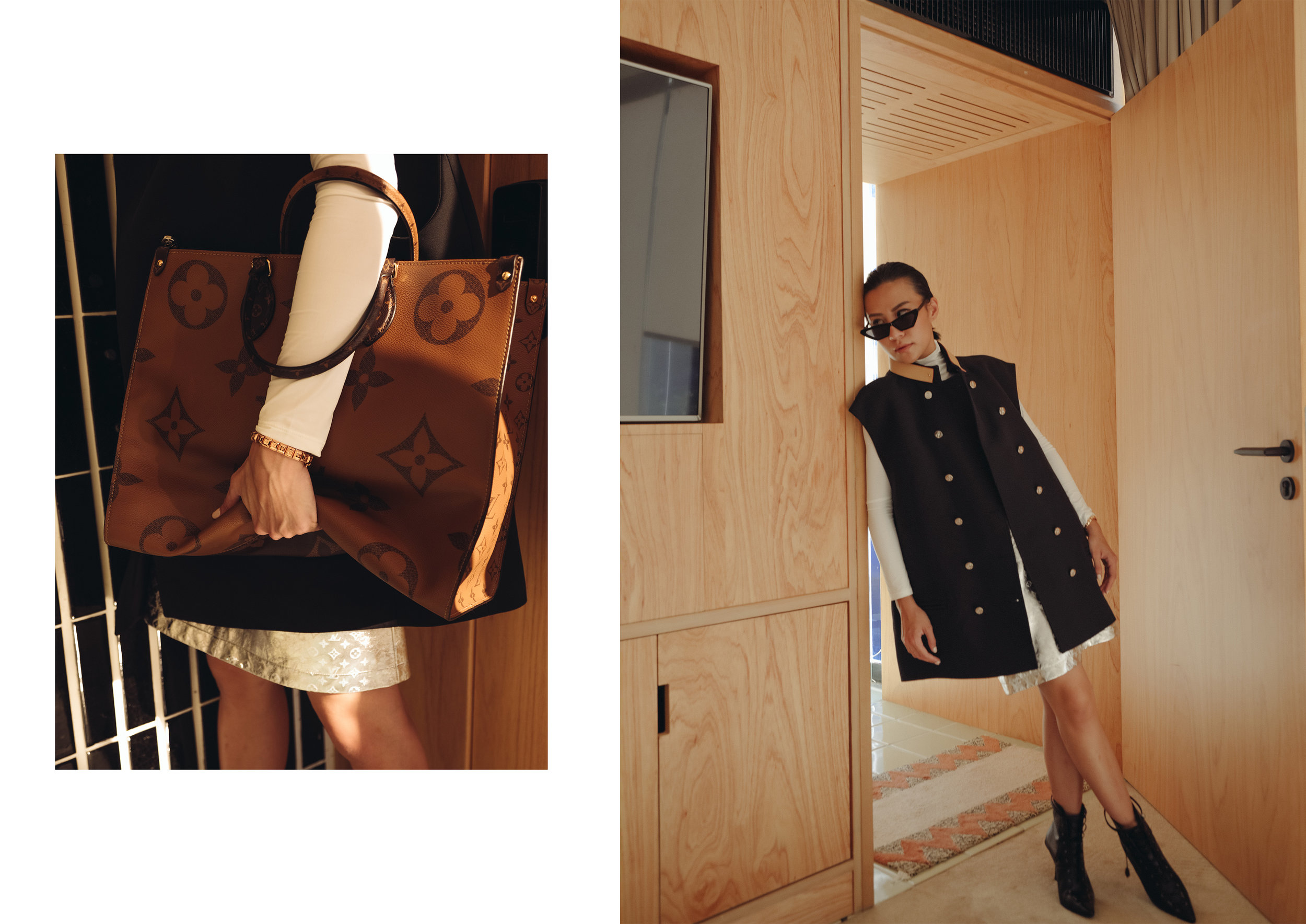 Featuring  On the Go ,  Sleeveless Double Breasted Coat with Leather Collar  and  Embossed Monogram Leather Mini Skirt