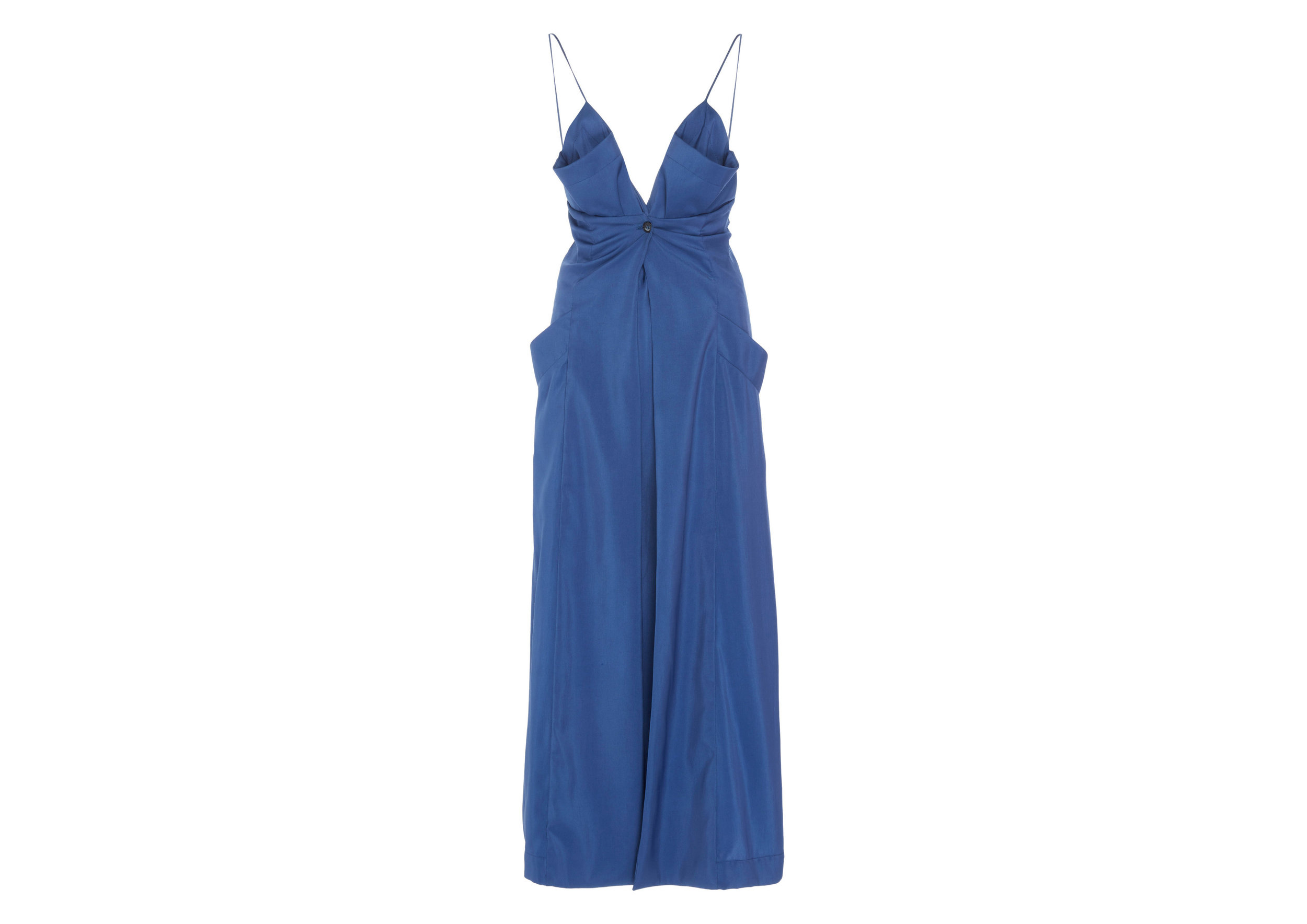 Sleeveless Button-Front Draped Midi DressSGD1,153 -