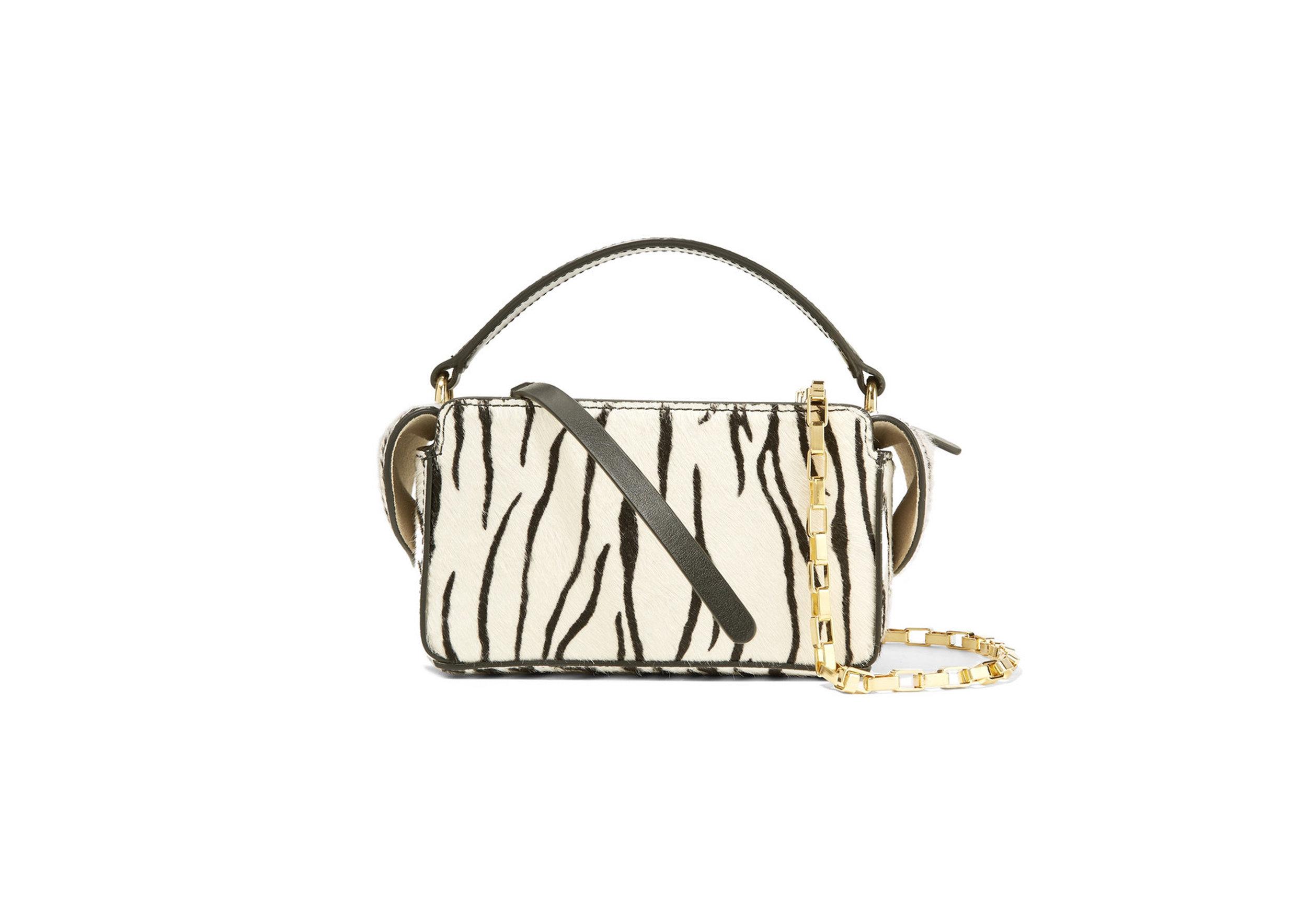 Wandler - Yara Box Leather-Trimmed Zebra-Print Shoulder Bag, SGD 782