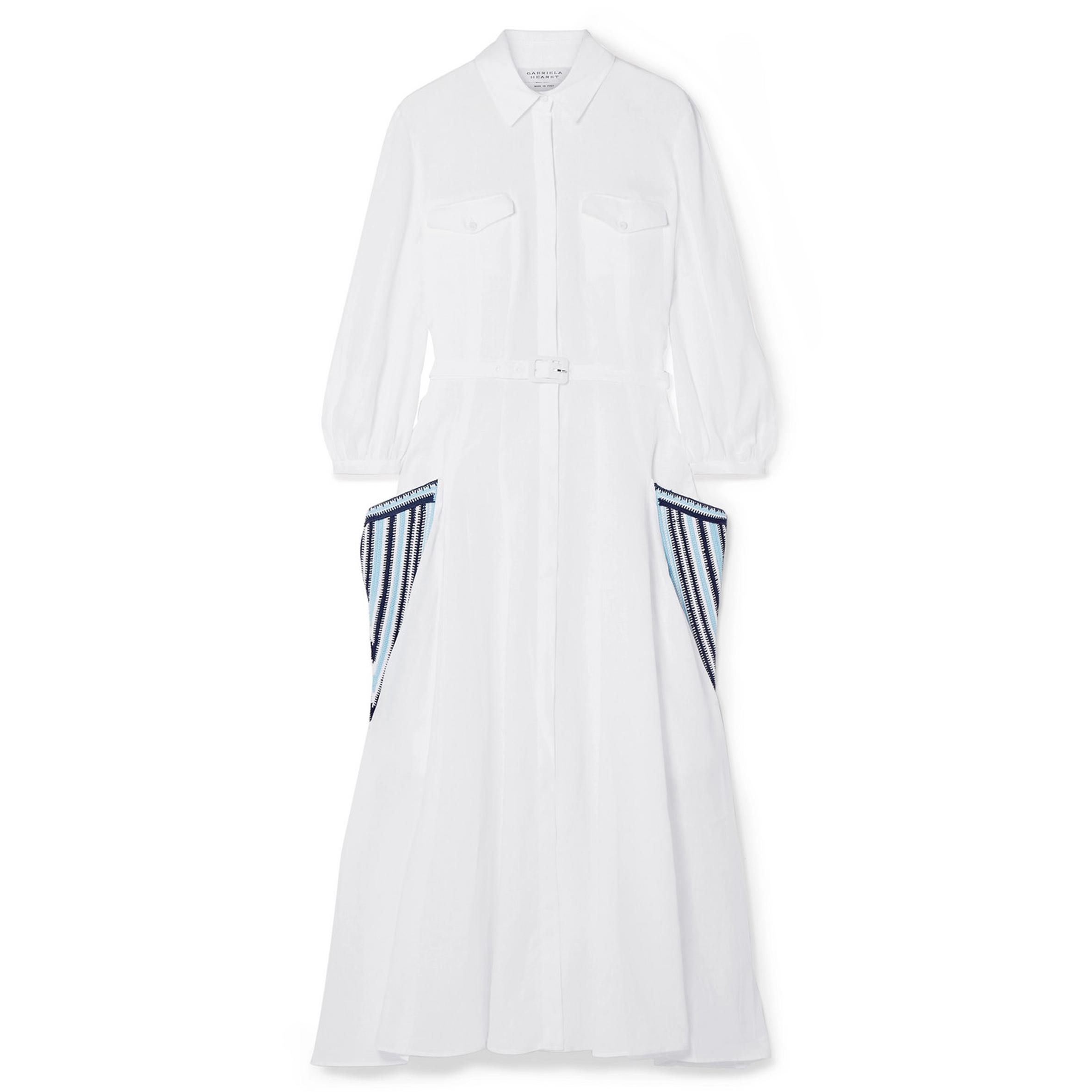 Gabriela Hearst - Woodward belted crochet-trimmed linen midi dress | SGD 2,293