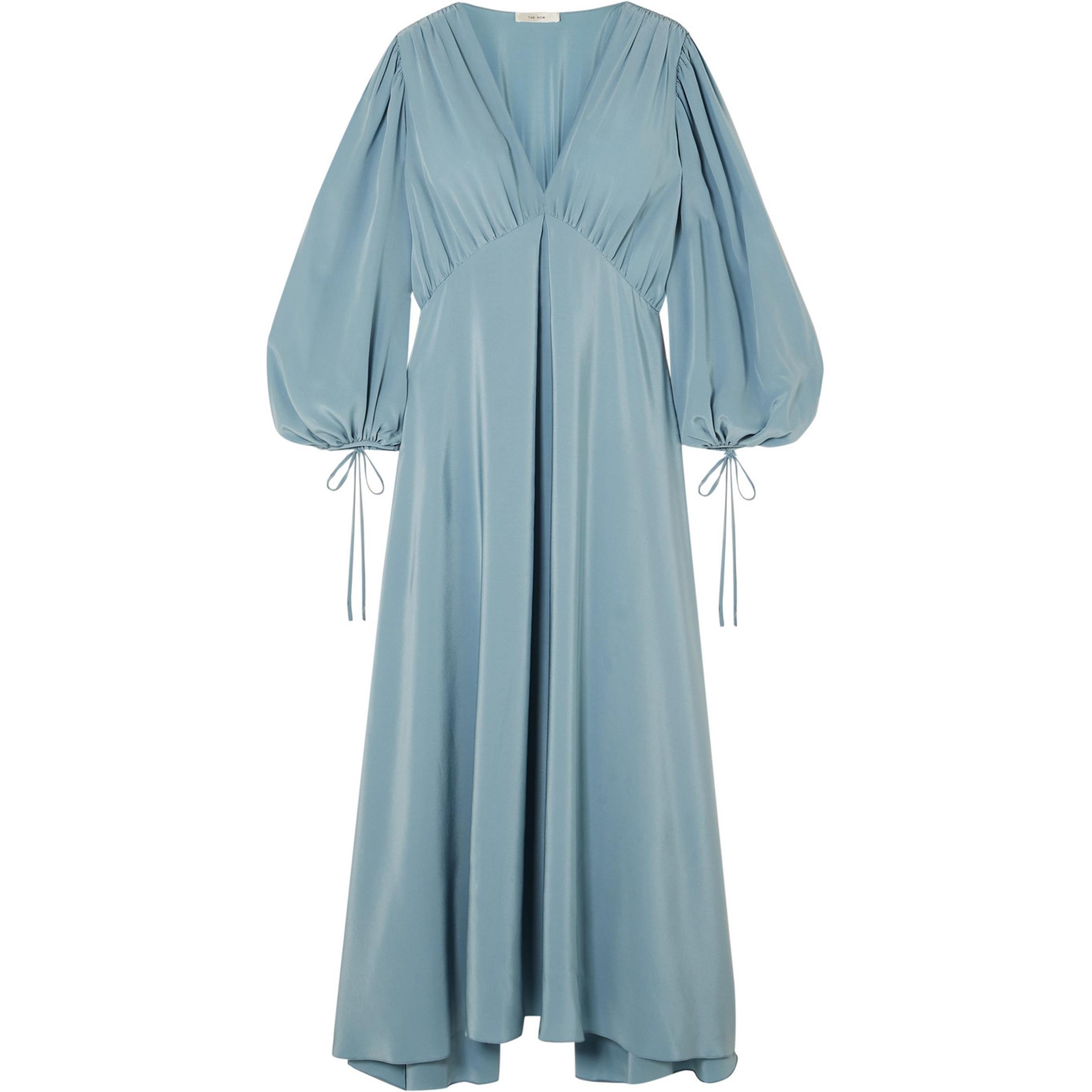 The Row - Sante gathered silk crepe de chine maxi dress | SGD 4,269