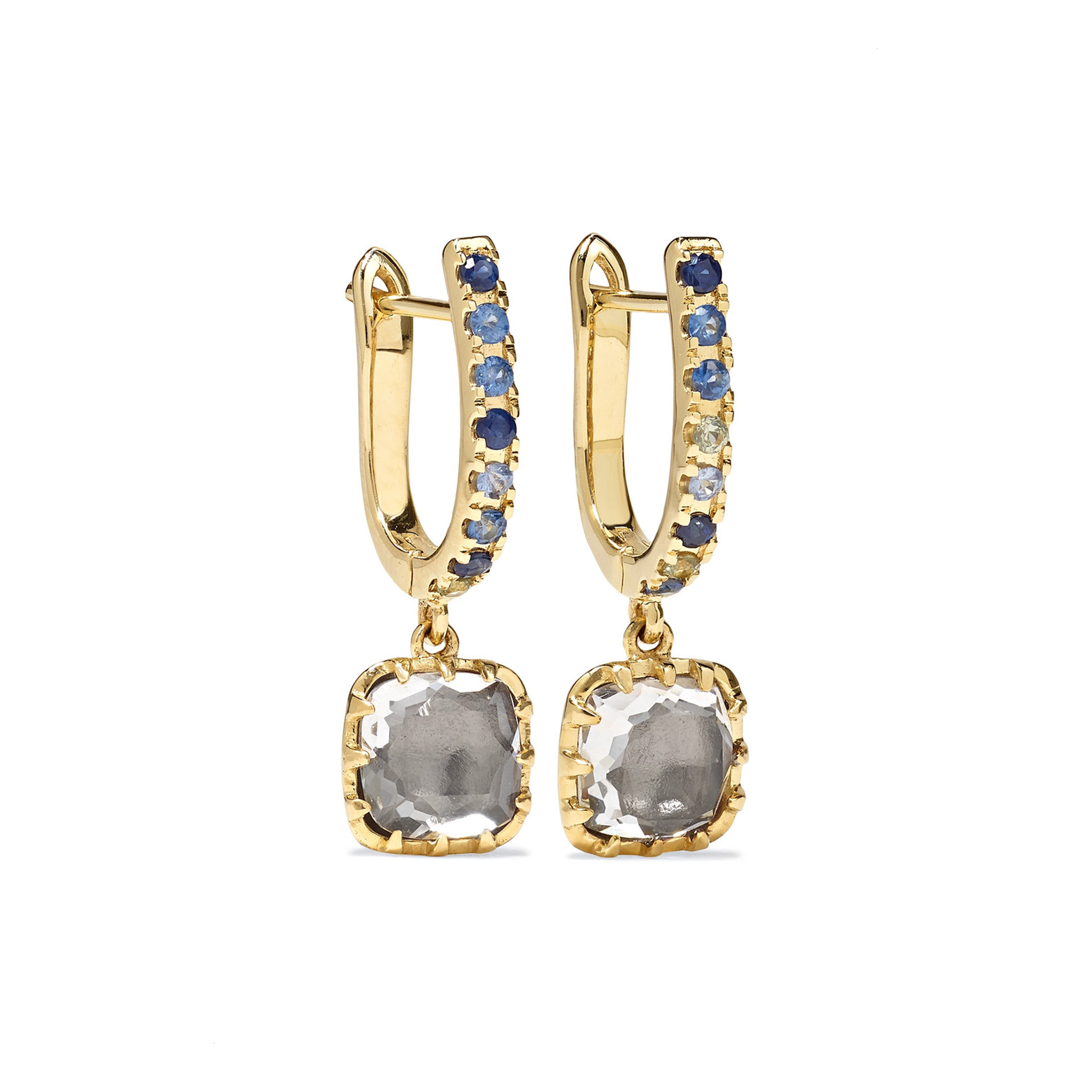 Larkspur & Hawk - Caprice Elements 14-karat gold, quartz and sapphire earrings | SGD 2,100