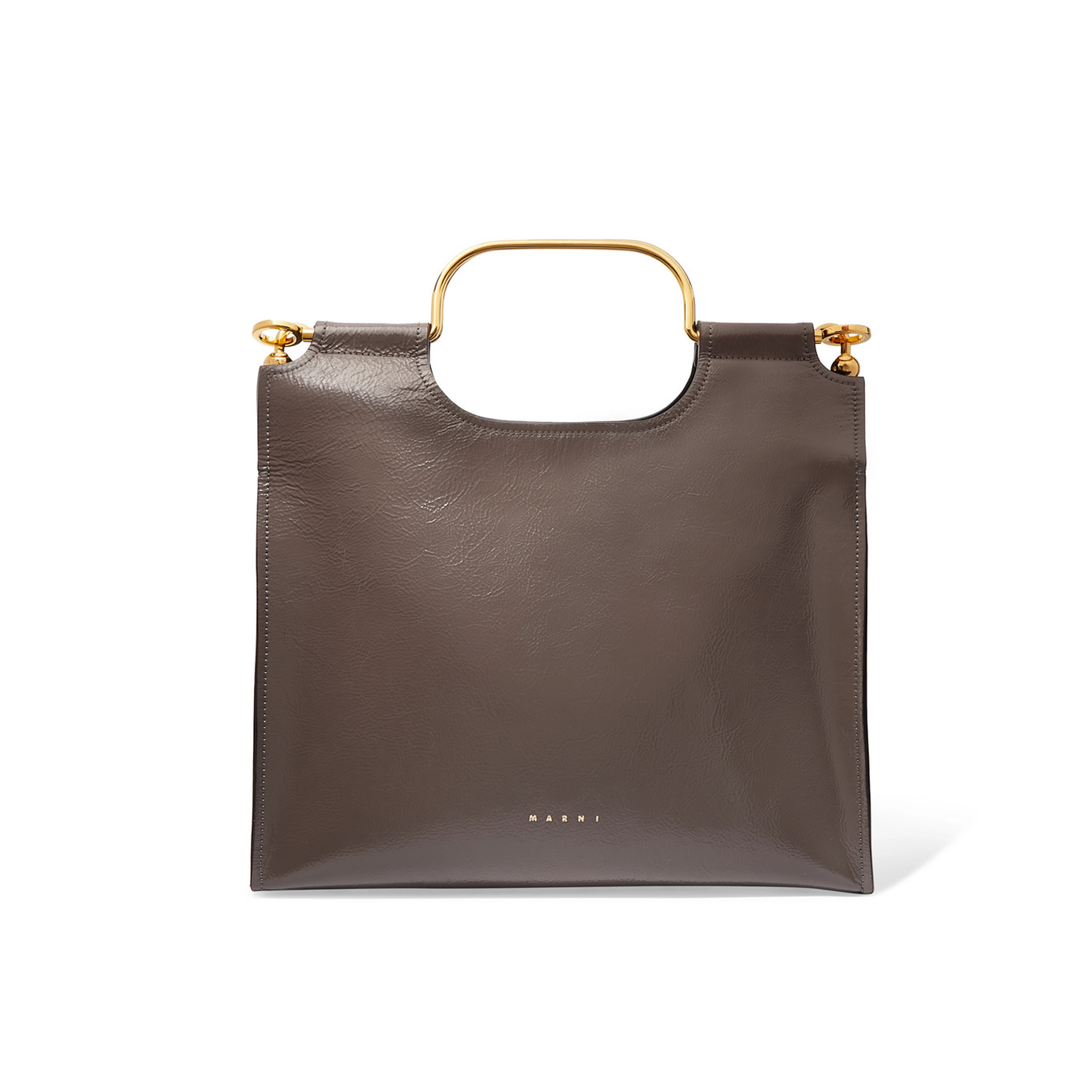 Marni - Marcel textured glossed-leather tote | SGD 2,742