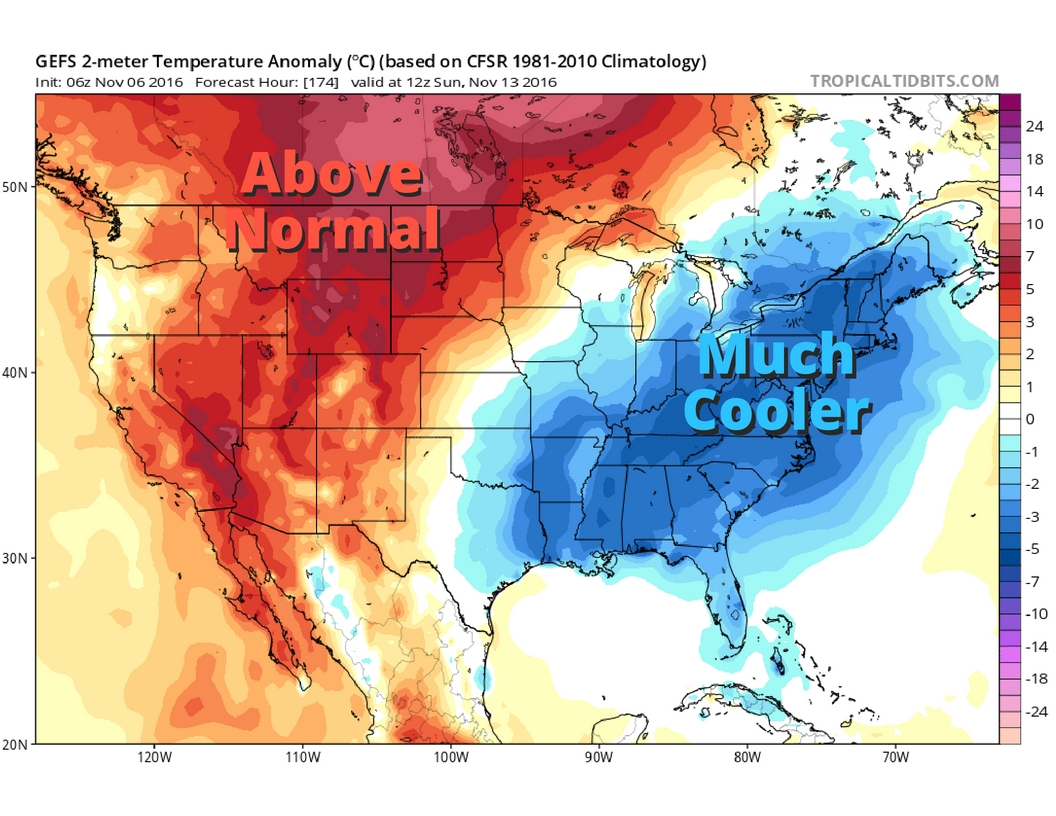 Image shows below normal temperatures in the blue shading.