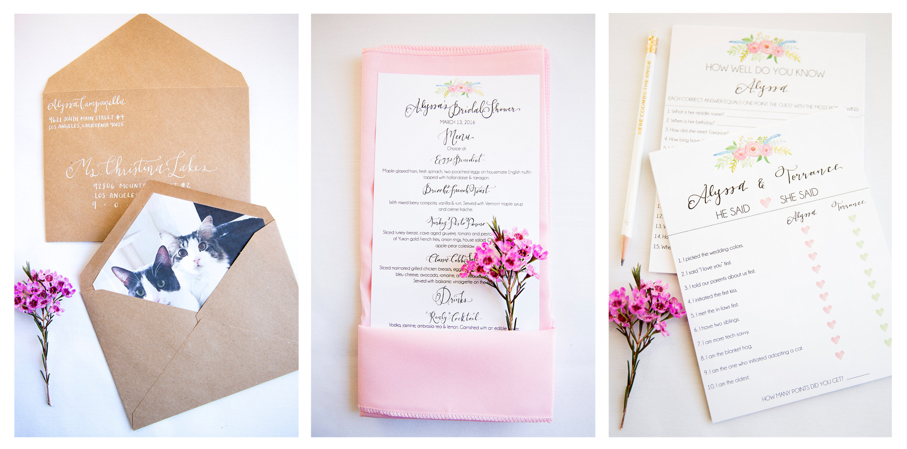 http://www.pirouettepaper.com/blog-post/cat-themed-bridal-shower | Pirouette Paper Company | Cat Themed Bridal Shower | Celebration and Wedding Calligraphy and Wedding Invitations