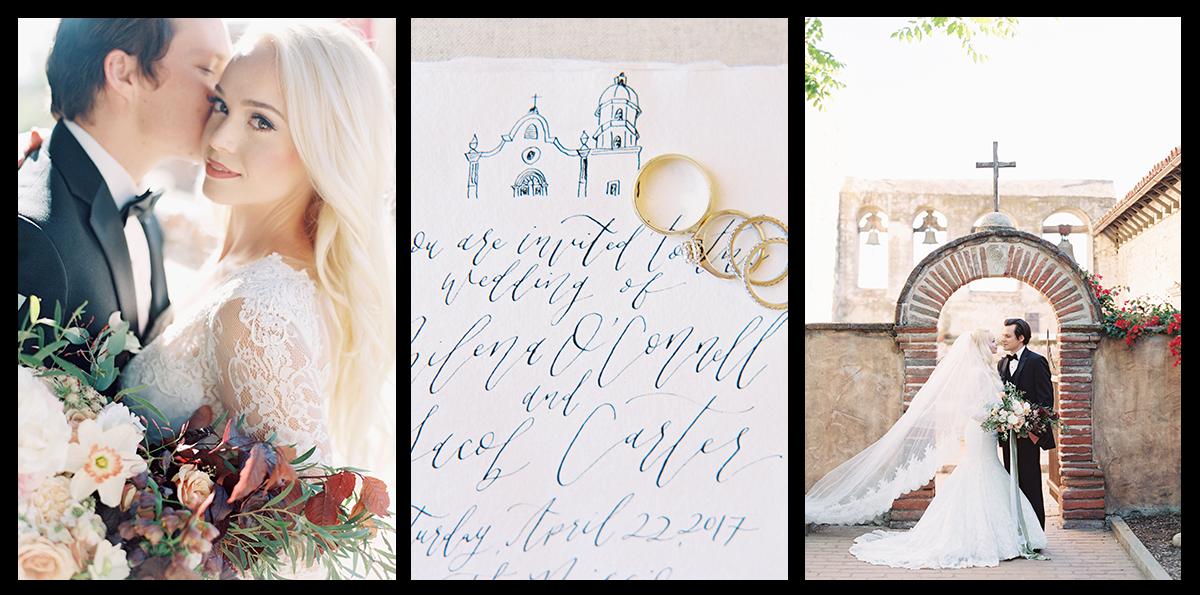 CALIFORNIA MISSION SAN JUAN CAPISTRANO WEDDING ELOPEMENT | CUSTOM CALLIGRAPHY AND INVITATIONS | PIROUETTE PAPER | MALLORY DAWN PHOTOGRAPHY