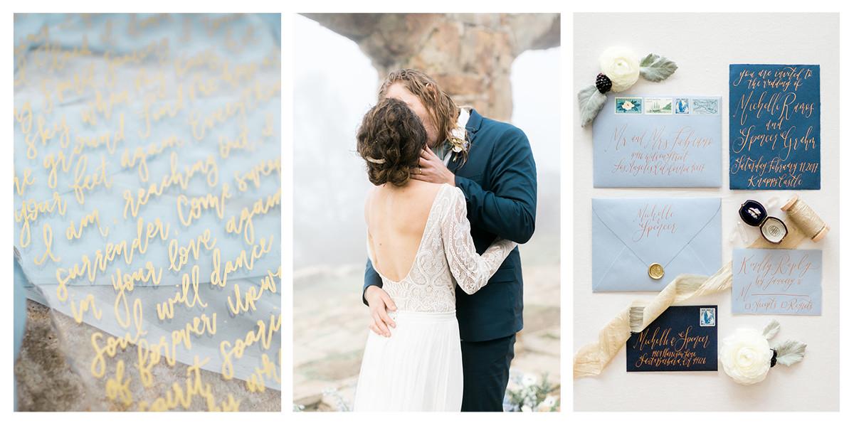 Knapps Castle Elopement | Pirouette Paper | Natalie Schutt Photography | Rainy and Misty Wedding