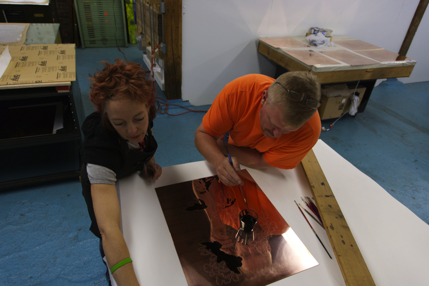 Working in the Georgetown Studio with artist Jeffry Mitchell, spring 2007.Photo by Robert Sturgill.