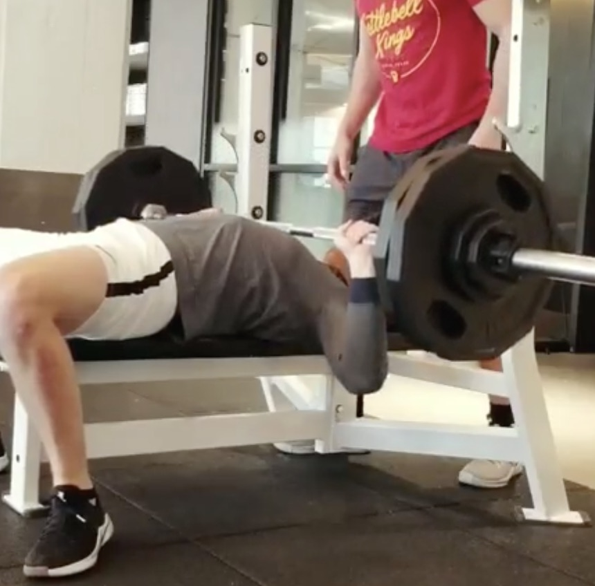 Kenny hitting a 240 lb bench press PR.