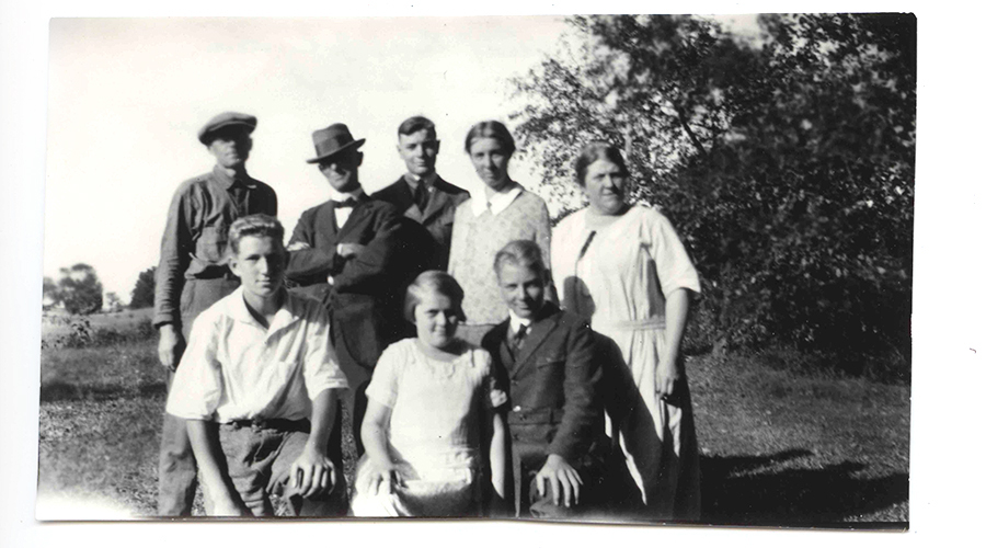 The fourth and fifth Fraleigh generations gather in the 1930s on Rose Hill Farm, Left to right, top: Dr. Harvey Losee, Curtis Fraleigh, John Losee, Rosalie Fraleigh, Fannie E. Fraleigh; Bottom: Elmore Fraleigh, Ruth Fraleigh, Lawrence Losee. Photograph. collection of David Fraleigh.