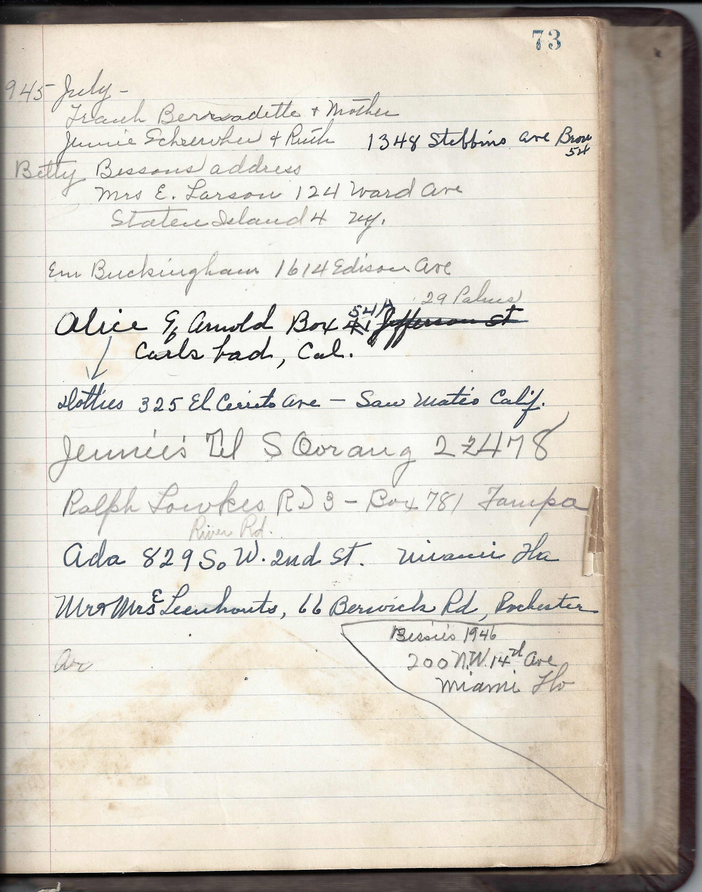 Page from RHF Guest Register 1945