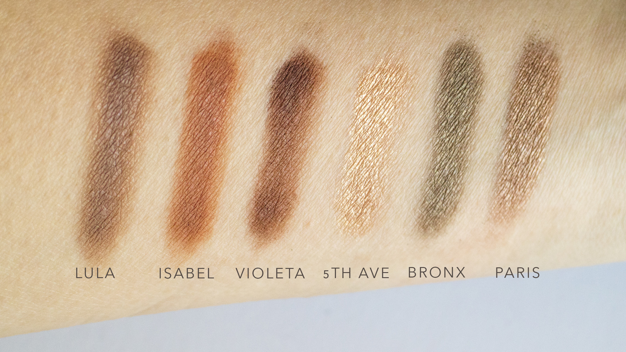 Bottom Row of Palette in natural daylight.