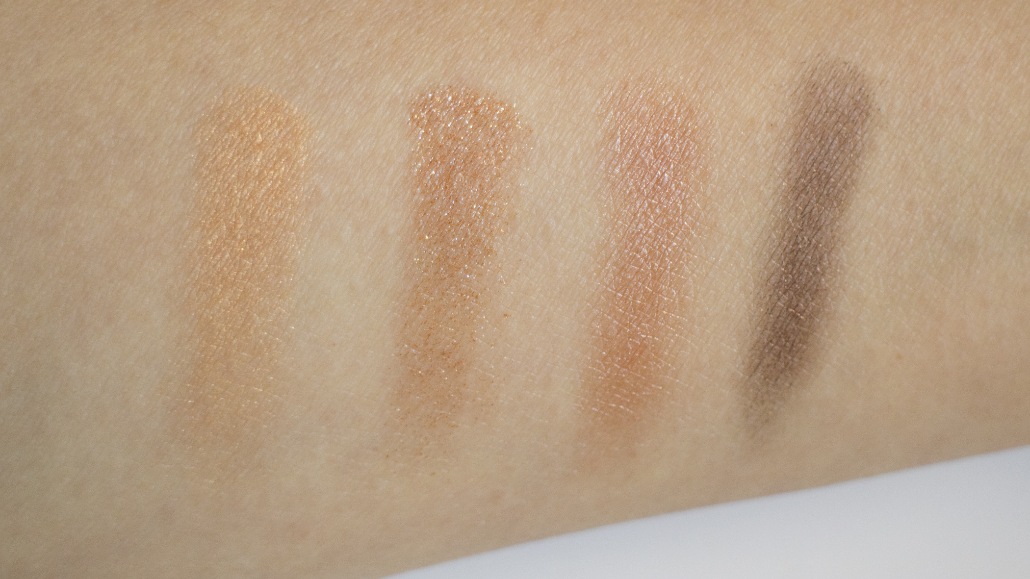 Finger swatches, from L to R: 1, 2, 3, 4