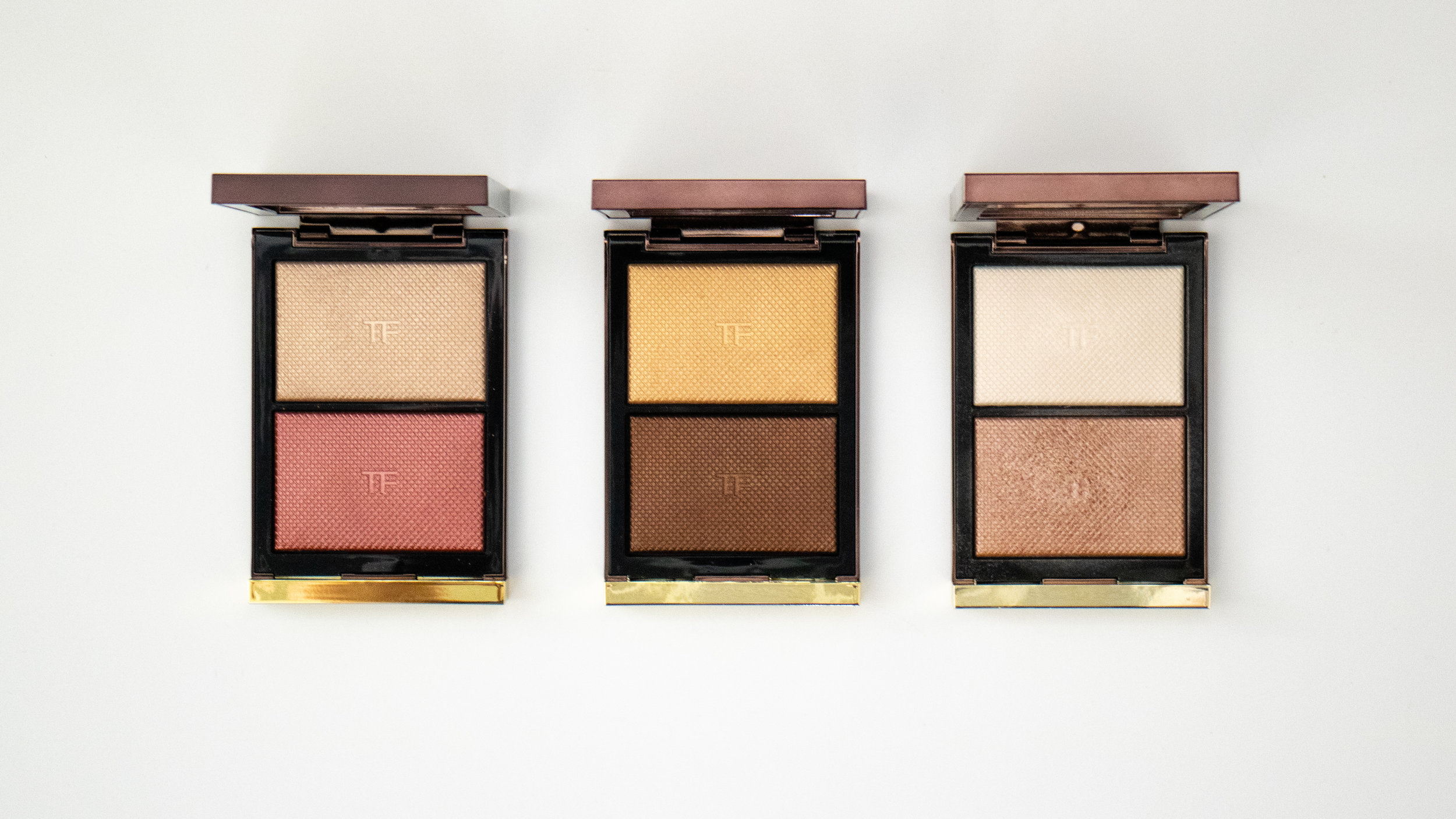 Tom Ford Skin Illuminating Powder Duos. From L to R: Incandescent, Flicker, Moodlight