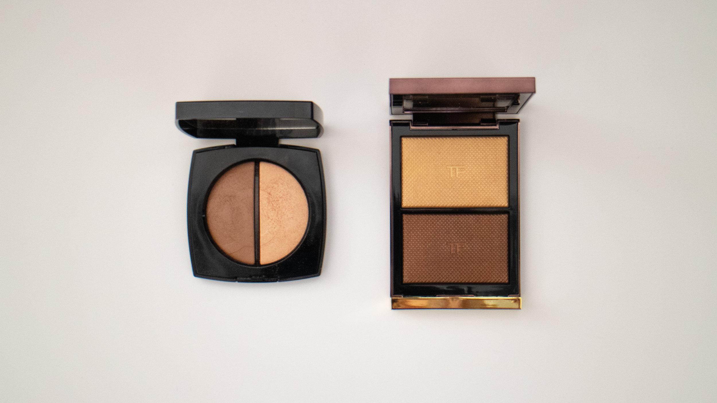 Chanel Bronzer and Highlighter Duo in Medium (L), Tom Ford Skin Illuminating Powder Duo in Flicker (R)