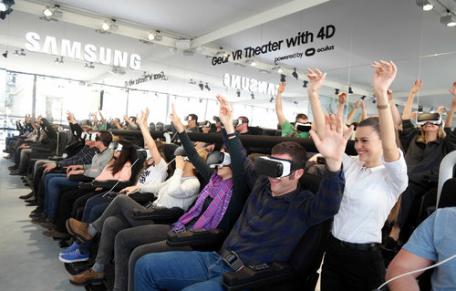 Crowd celebrating with 360˚ VR headsets
